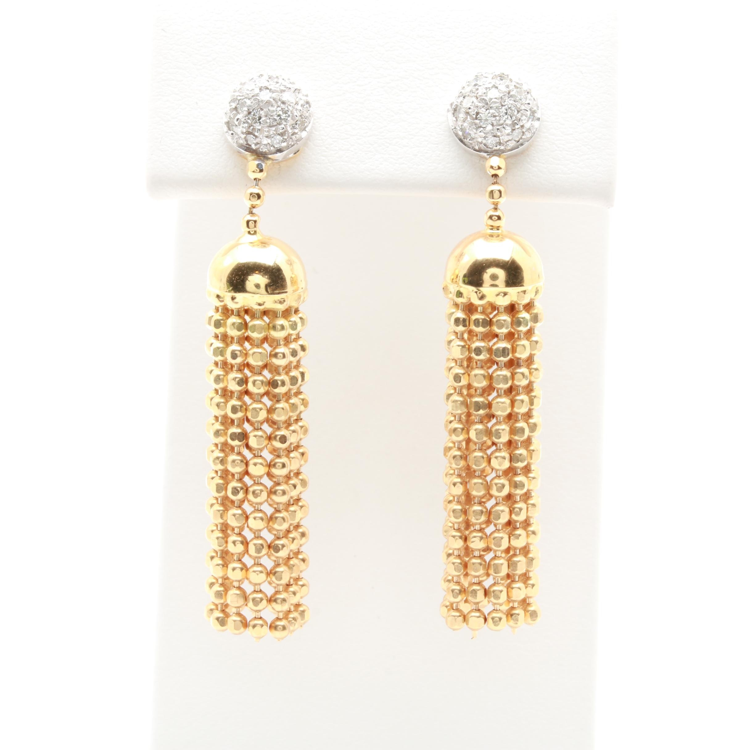 18K Yellow Gold Diamond Earrings With White Gold Accents