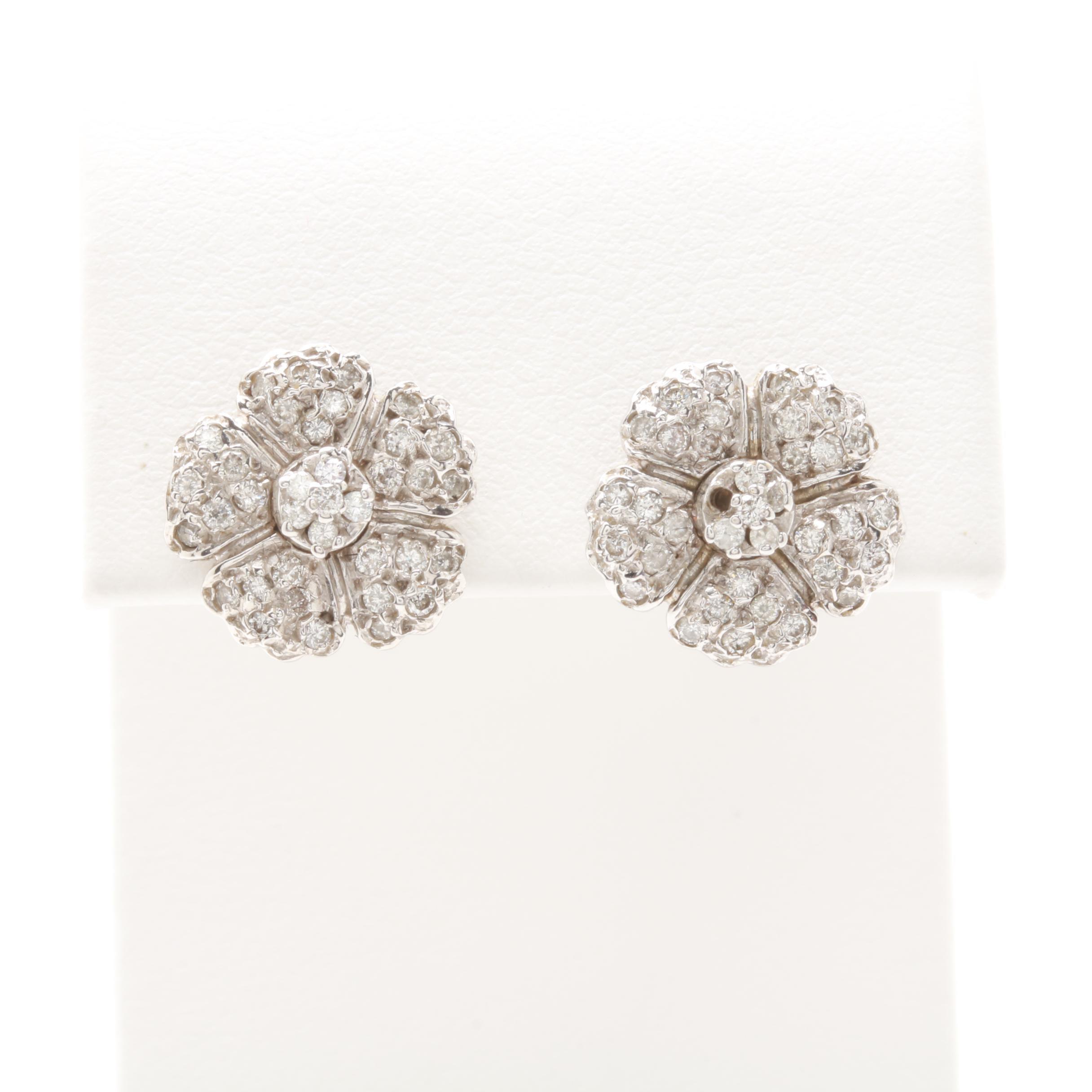 14K White Gold Diamond Flower Earrings