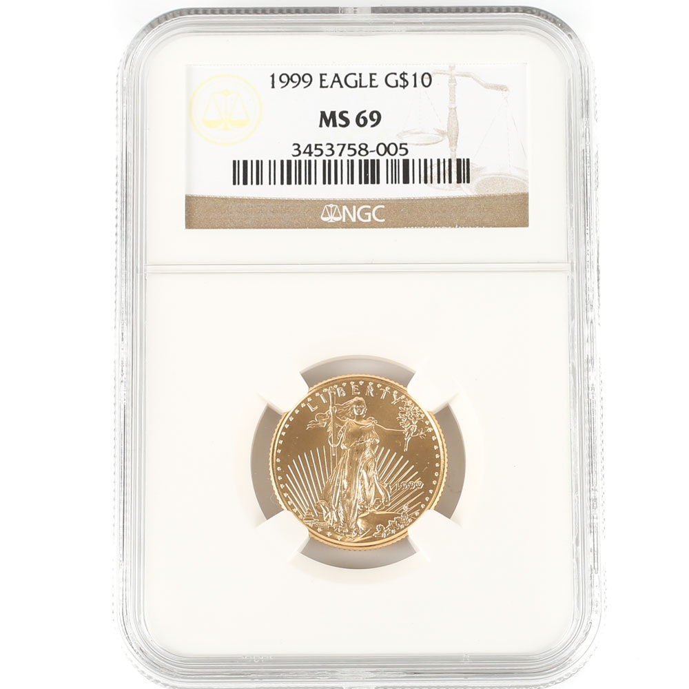 NGC Graded MS69 1999 $10 Gold Eagle Bullion Coin