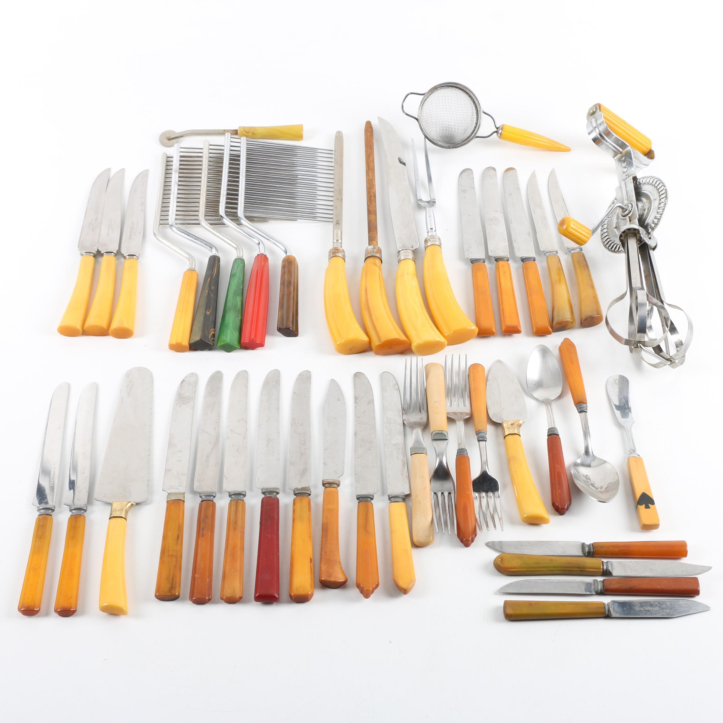 Flatware, Utensil, and Knife Assortment with Plastic Handles