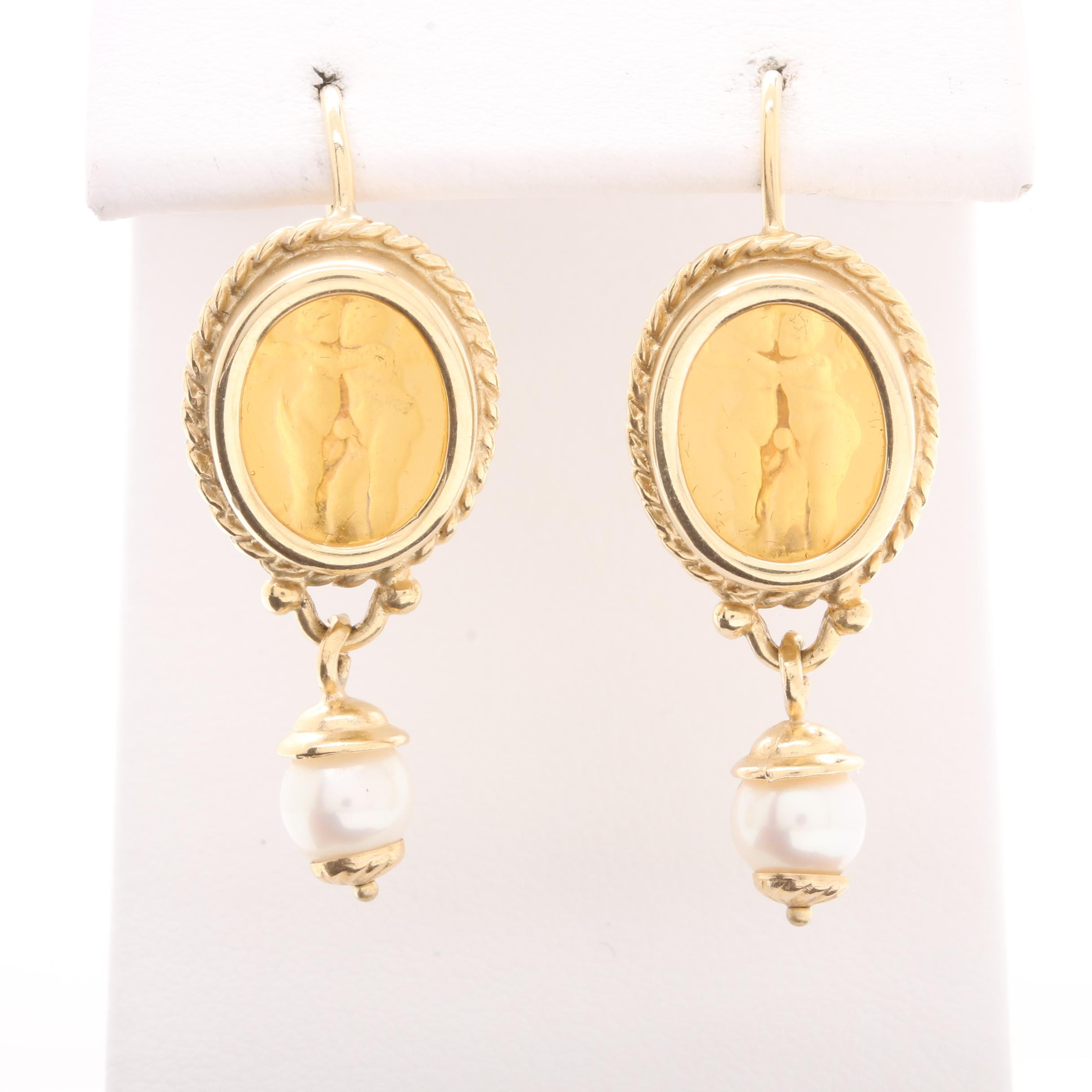 14K Yellow Gold Cultured Pearl and Intaglio Glass Earrings