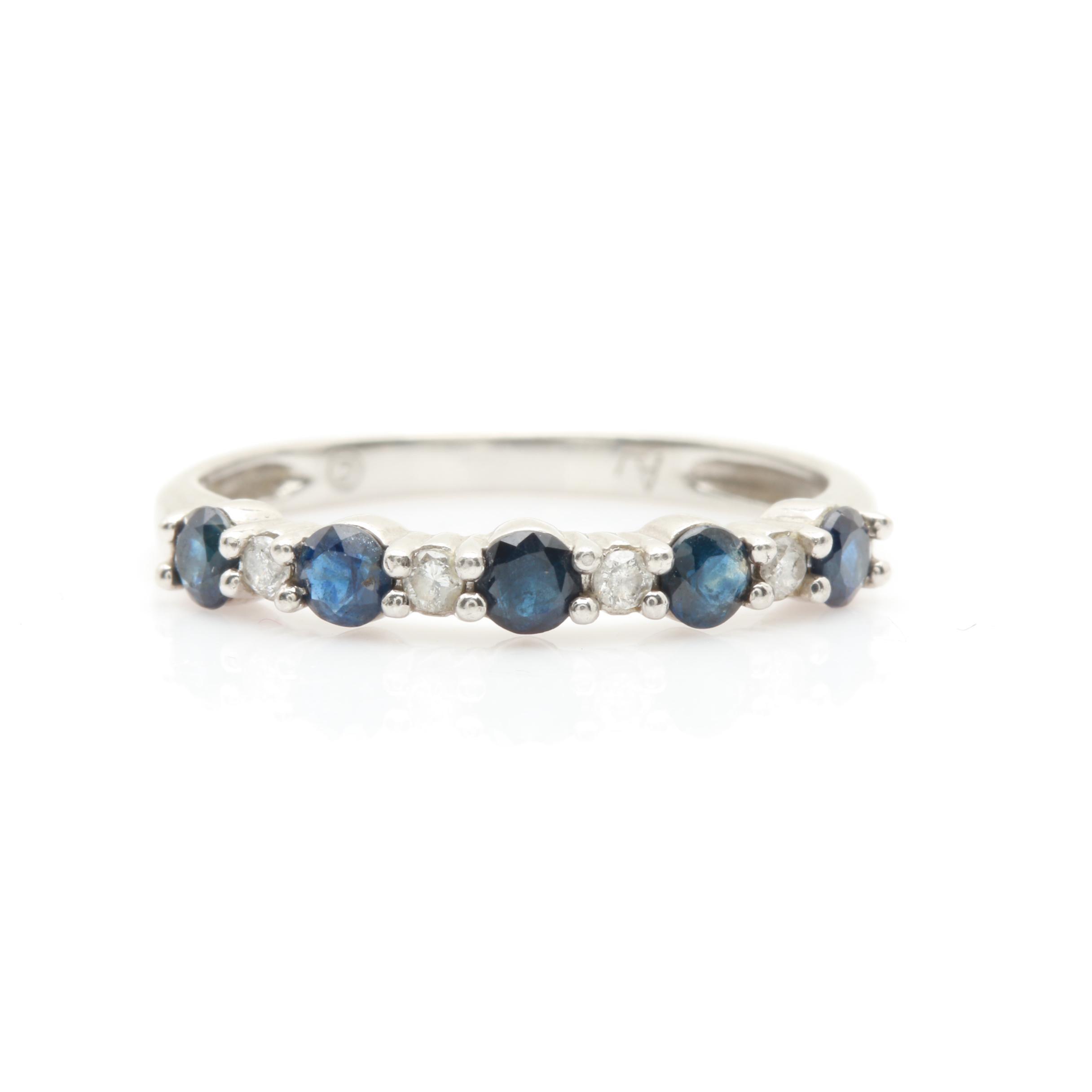 Alwand Vahan Platinum Blue Sapphire and Diamond Ring