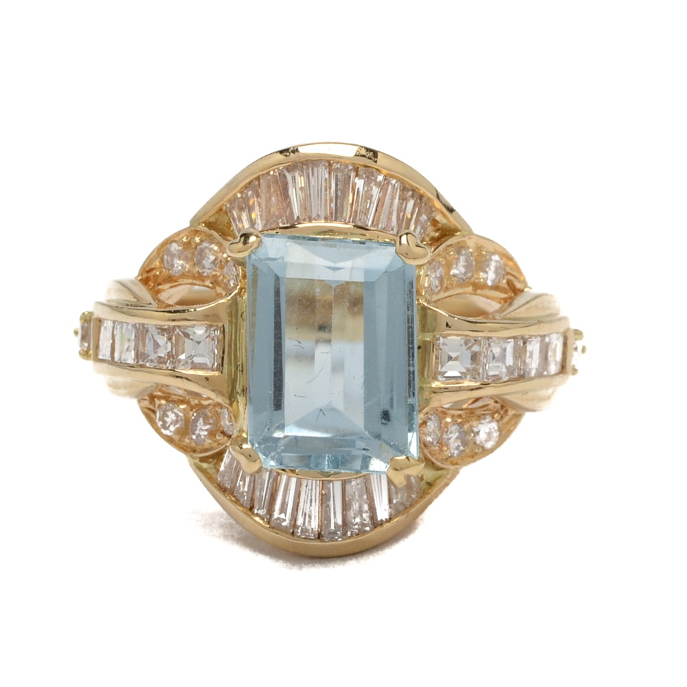 18K Yellow Gold Topaz and 1.19 CTW Diamond Cocktail Ring