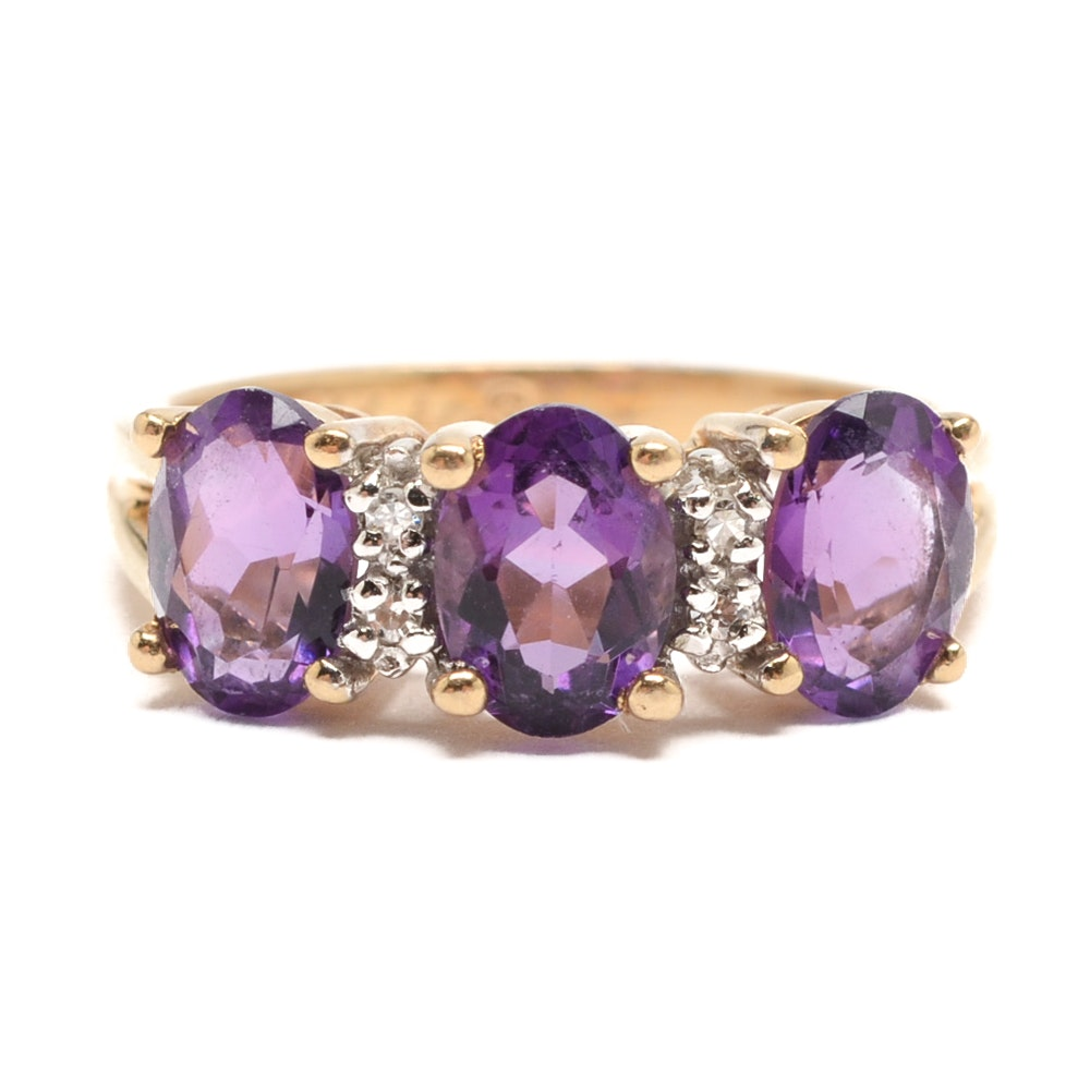 Alwand Vahan 14K Yellow Gold Amethyst and Diamond Ring