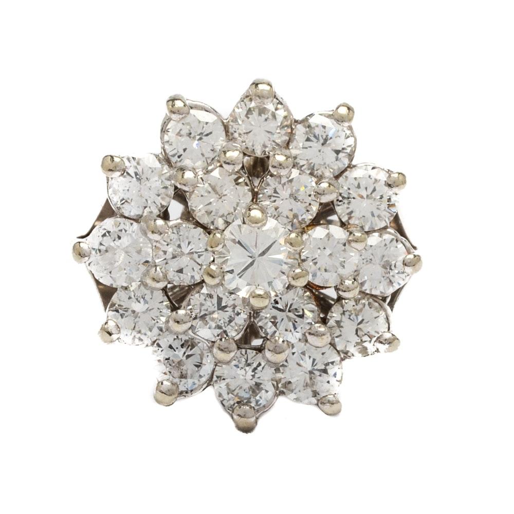 14K White Gold 2.92CTW Diamond Cocktail Ring