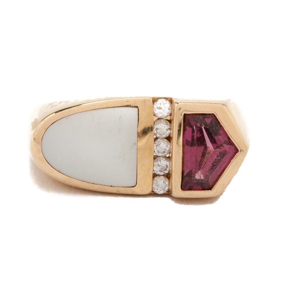 14K Kabana Yellow Gold Rhodolite Garnet, Mother of Pearl and Diamond Ring