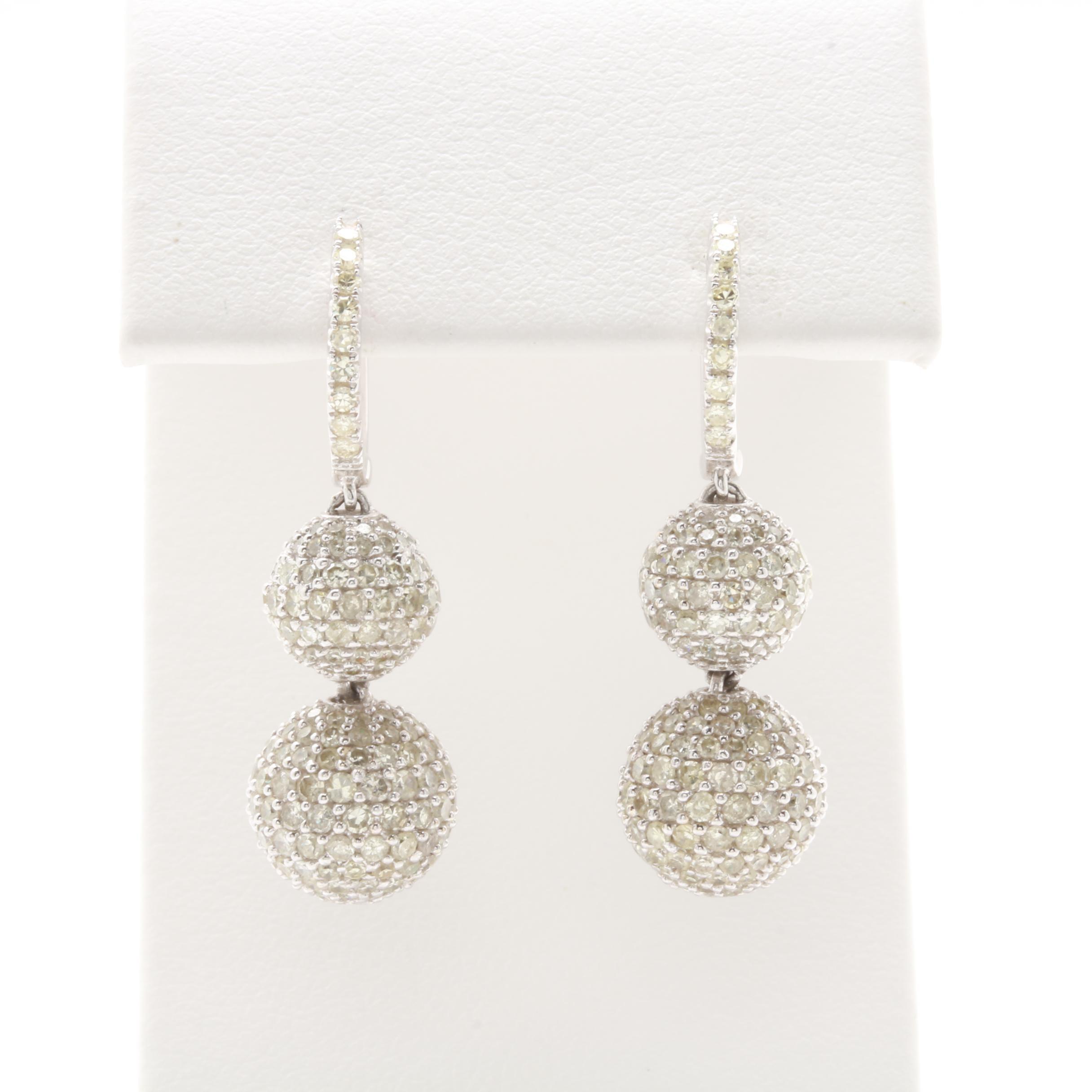 14K White Gold 3.10 CTW Diamond Dangle Earrings