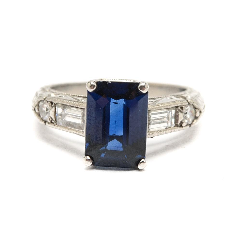 Platinum 2.25 CT Sapphire and Diamond Ring