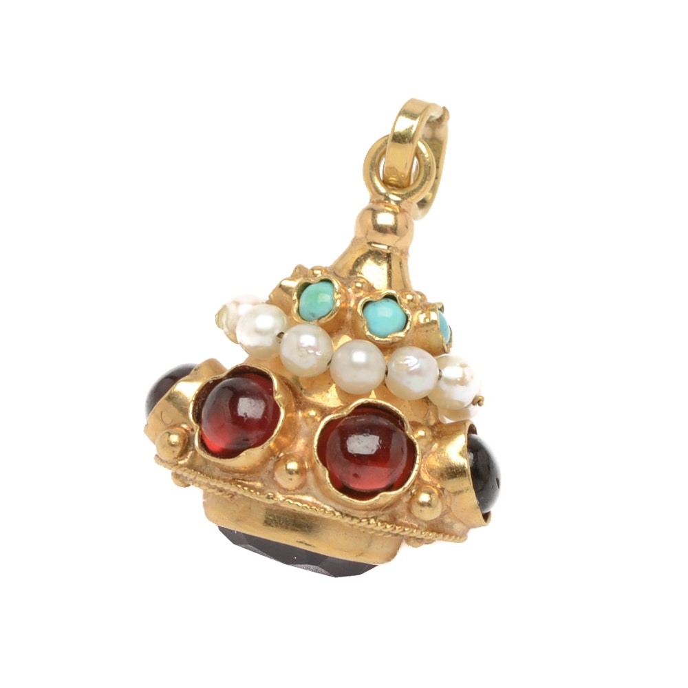 18K Yellow Gold Gemstone Pendant