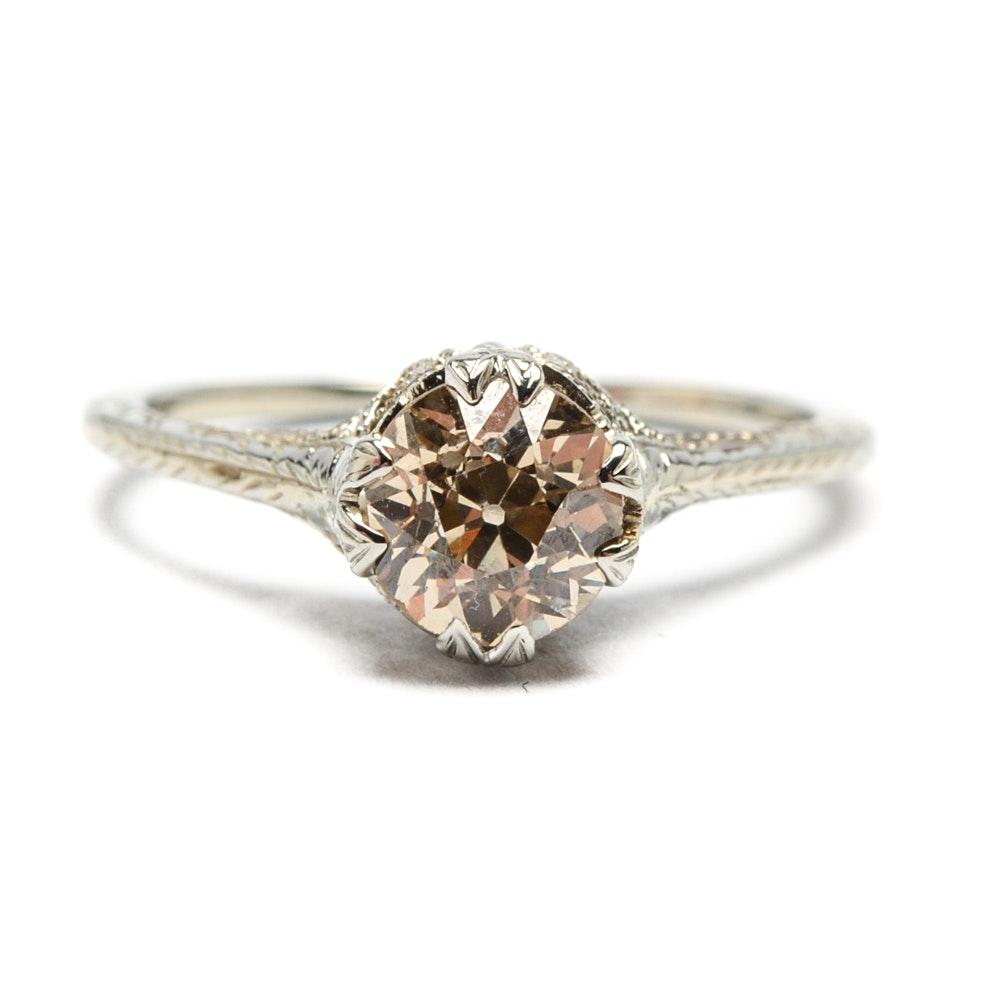 Art Nouveau 14K White Gold 0.94 CT Diamond Ring