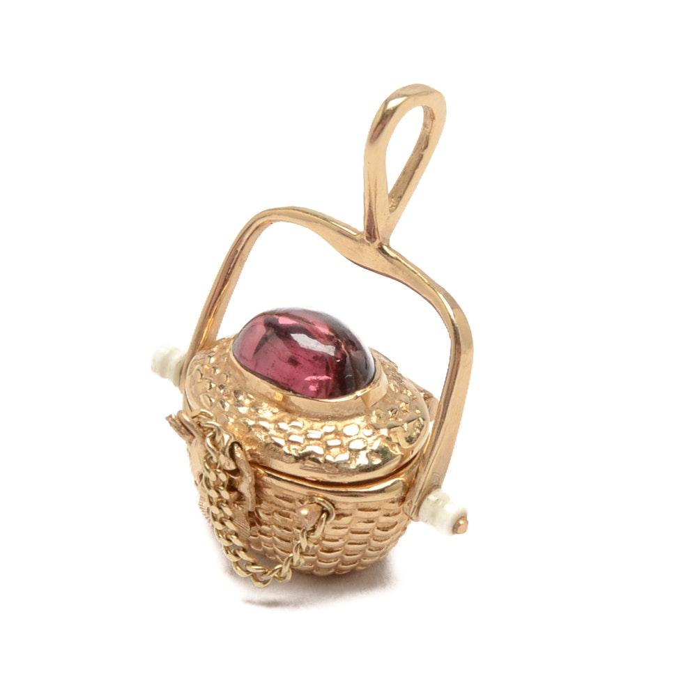14K Yellow Gold Rhodolite Garnet Basket Pendant