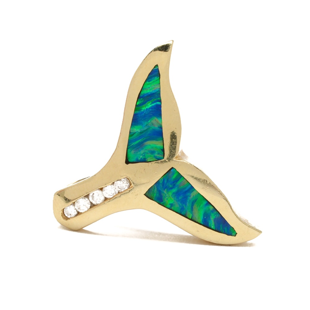 14K Yellow Gold Opal Doublet Inlay and Diamond Whale Tail Pendant