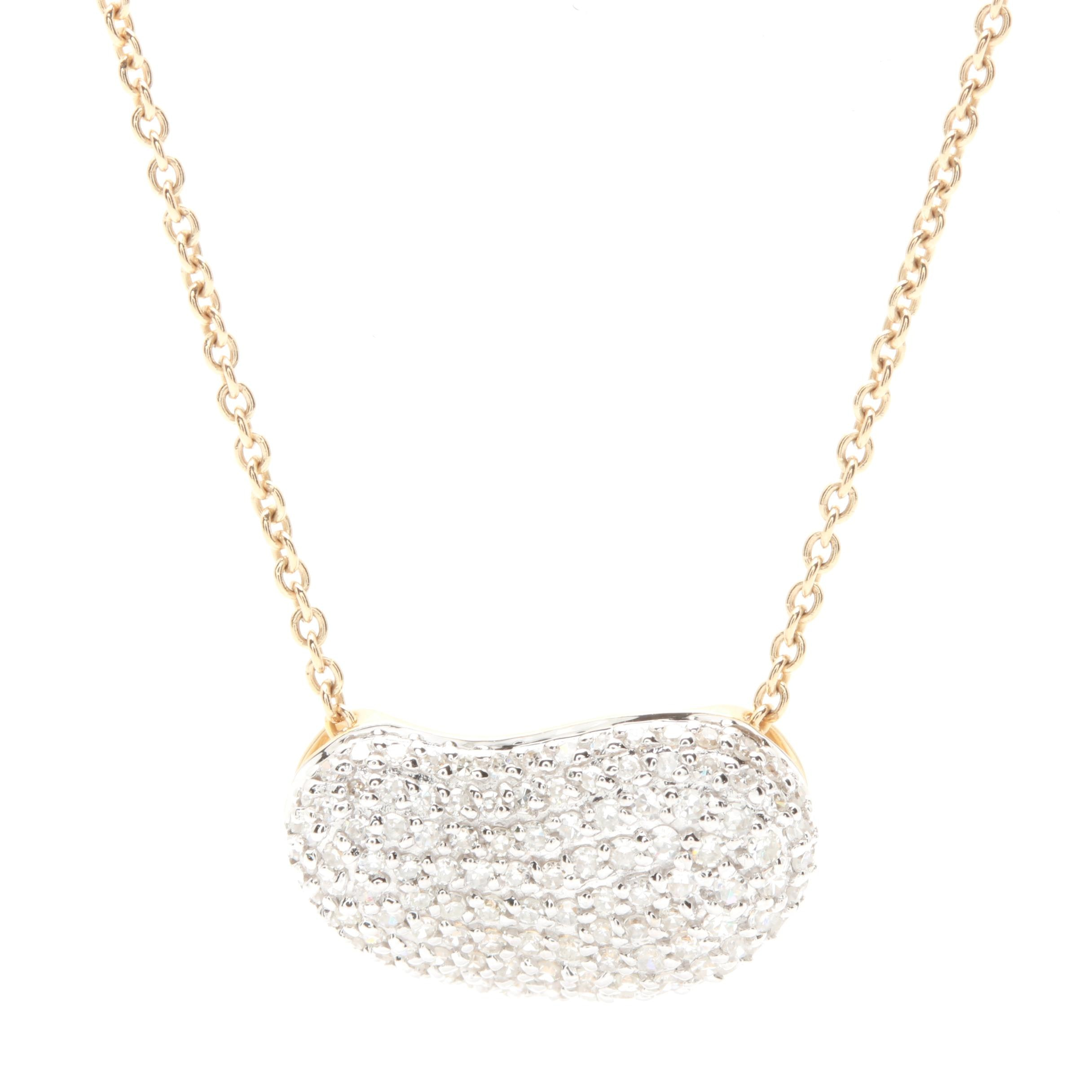 14K Yellow Gold Diamond Pendant Necklace with White Gold Accents