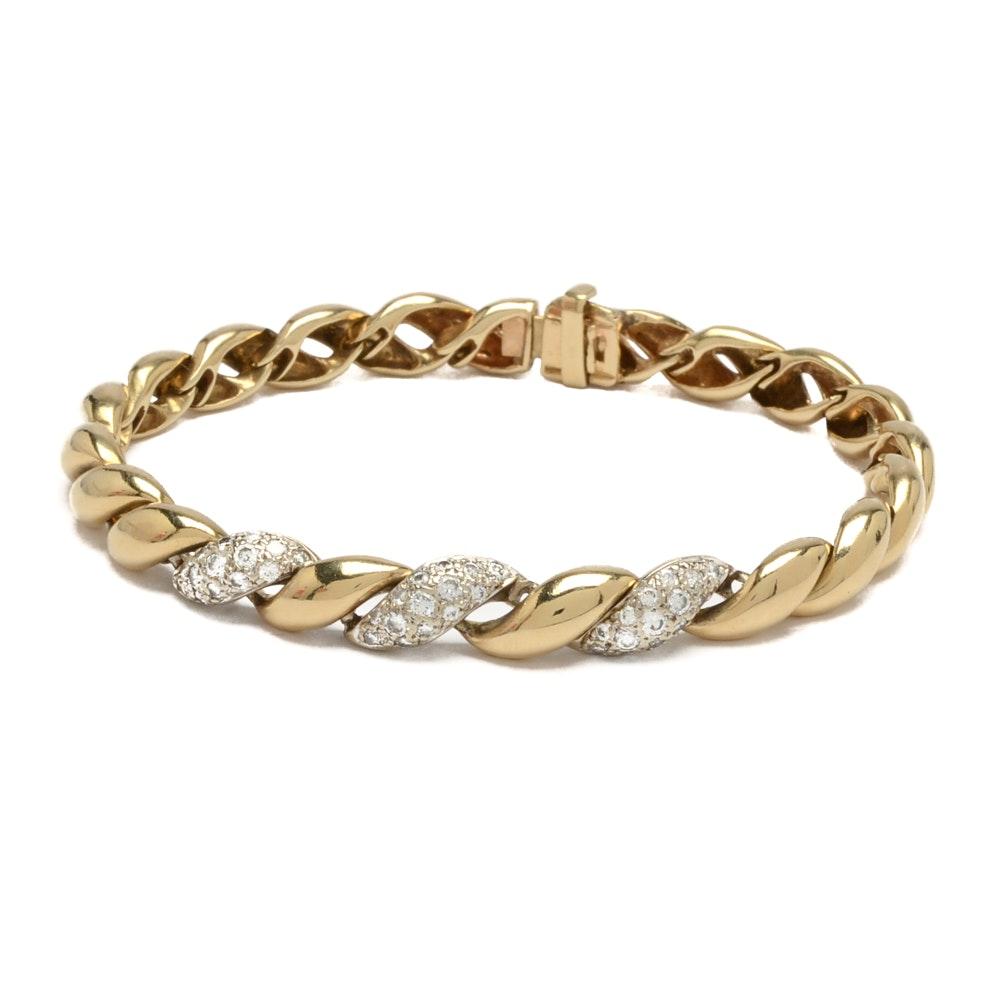 14K San Marco Style Yellow Gold Diamond Bracelet