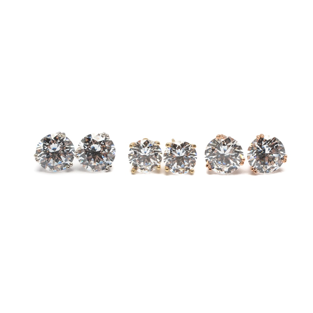 14K Yellow, Rose and White Gold Cubic Zirconia Stud Earrings