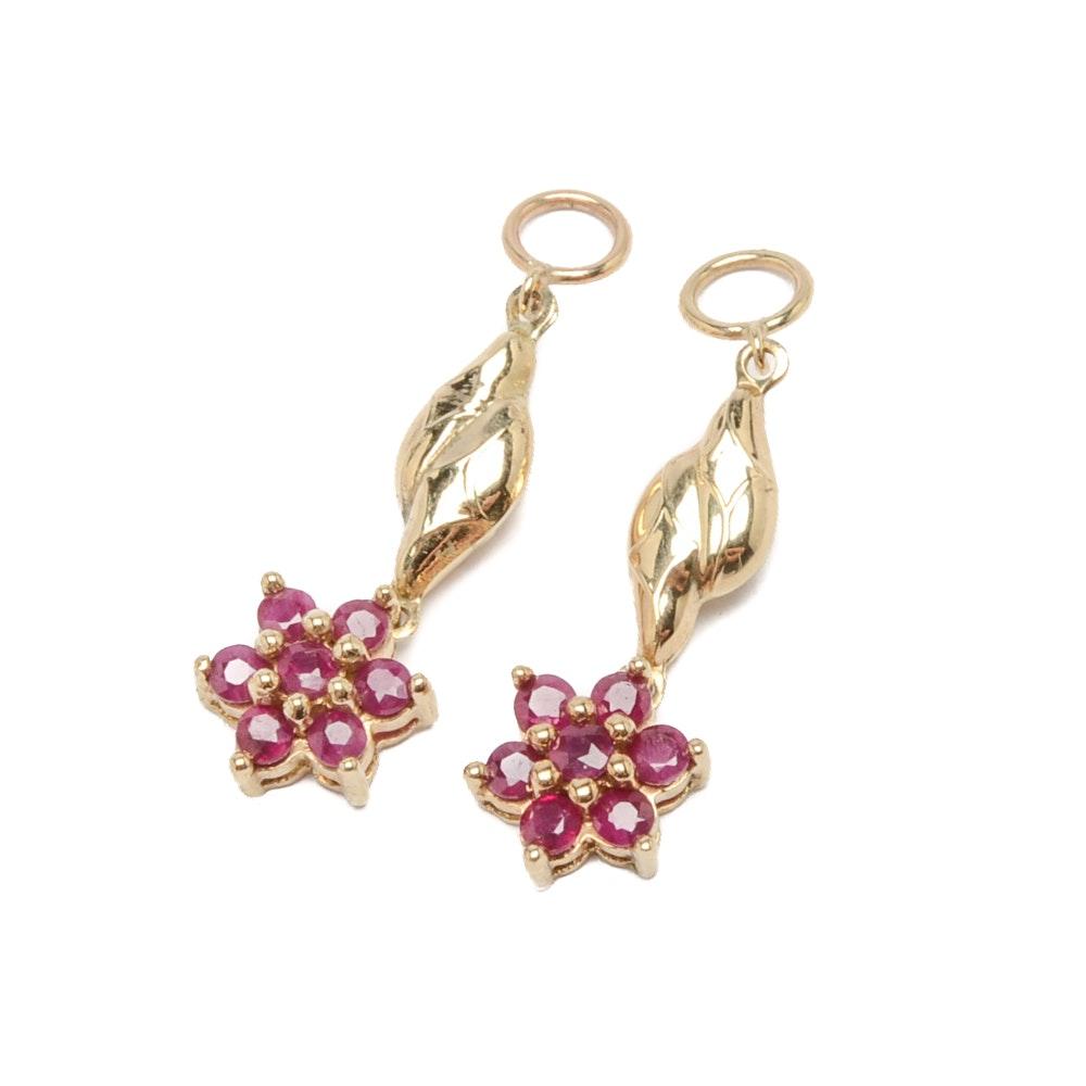 10K Yellow Gold Ruby Earring Jackets
