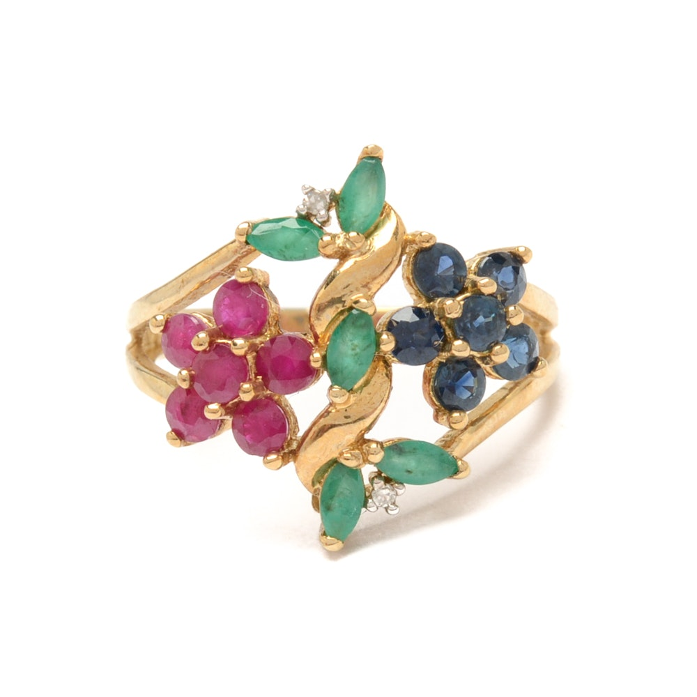 10K Yellow Gold Gemstone Ring