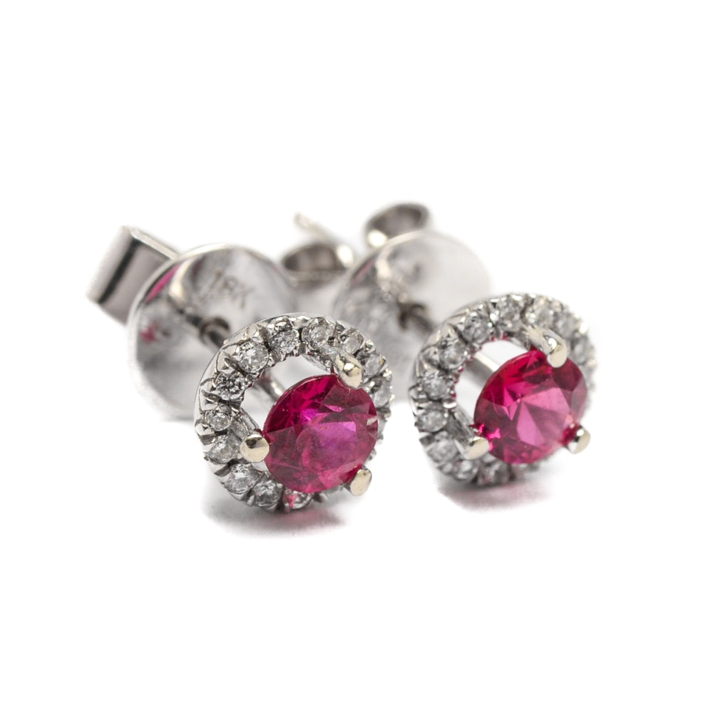 14K White Gold Ruby and Diamond Stud Earrings