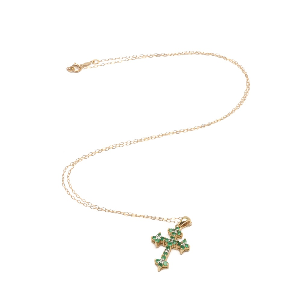 10K Yellow Gold Emerald and Diamond Cross Pendant on 14K Gold Chain Necklace