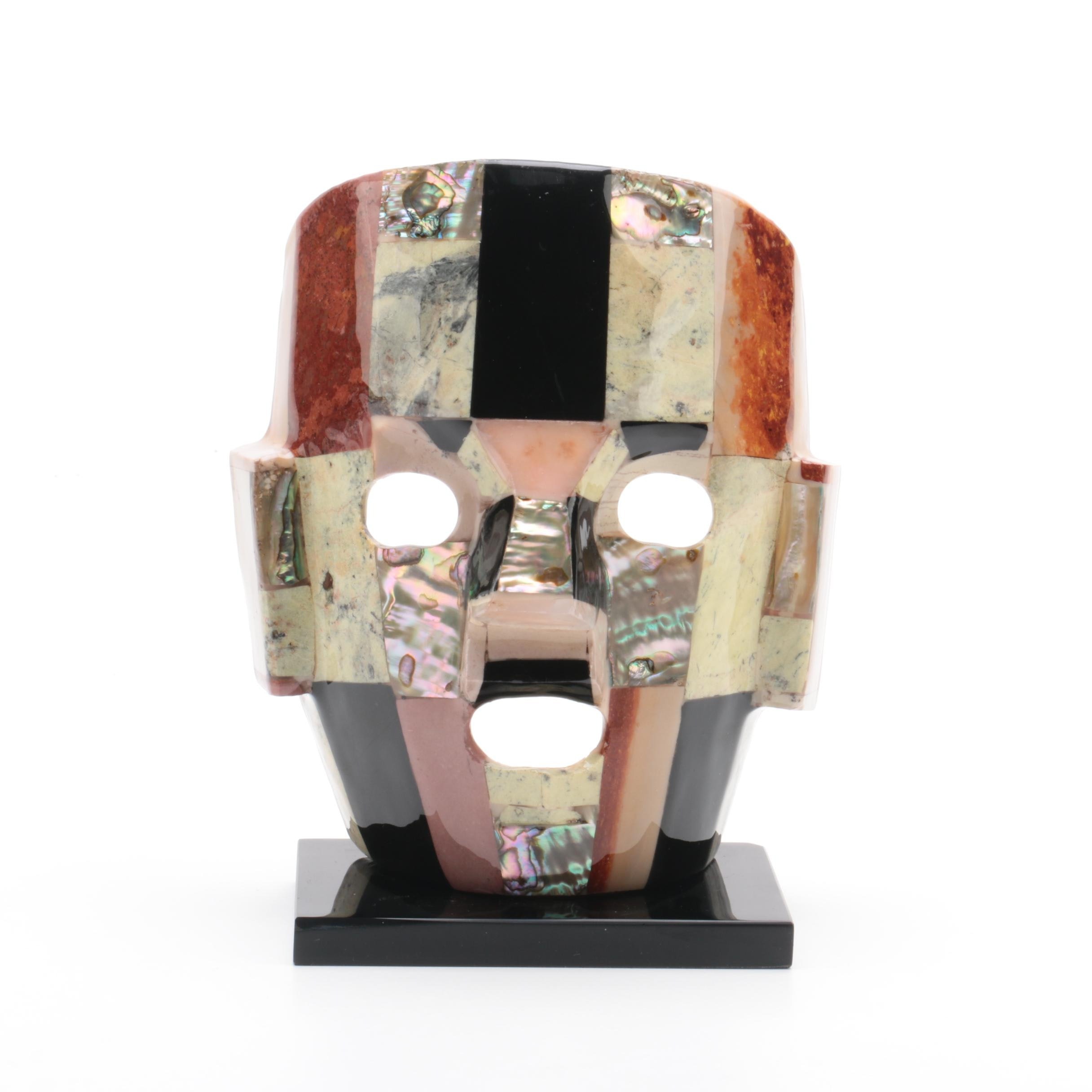 Mesoamerican-Inspired Abalone, Onyx, Agate and Marble Mask Sculpture