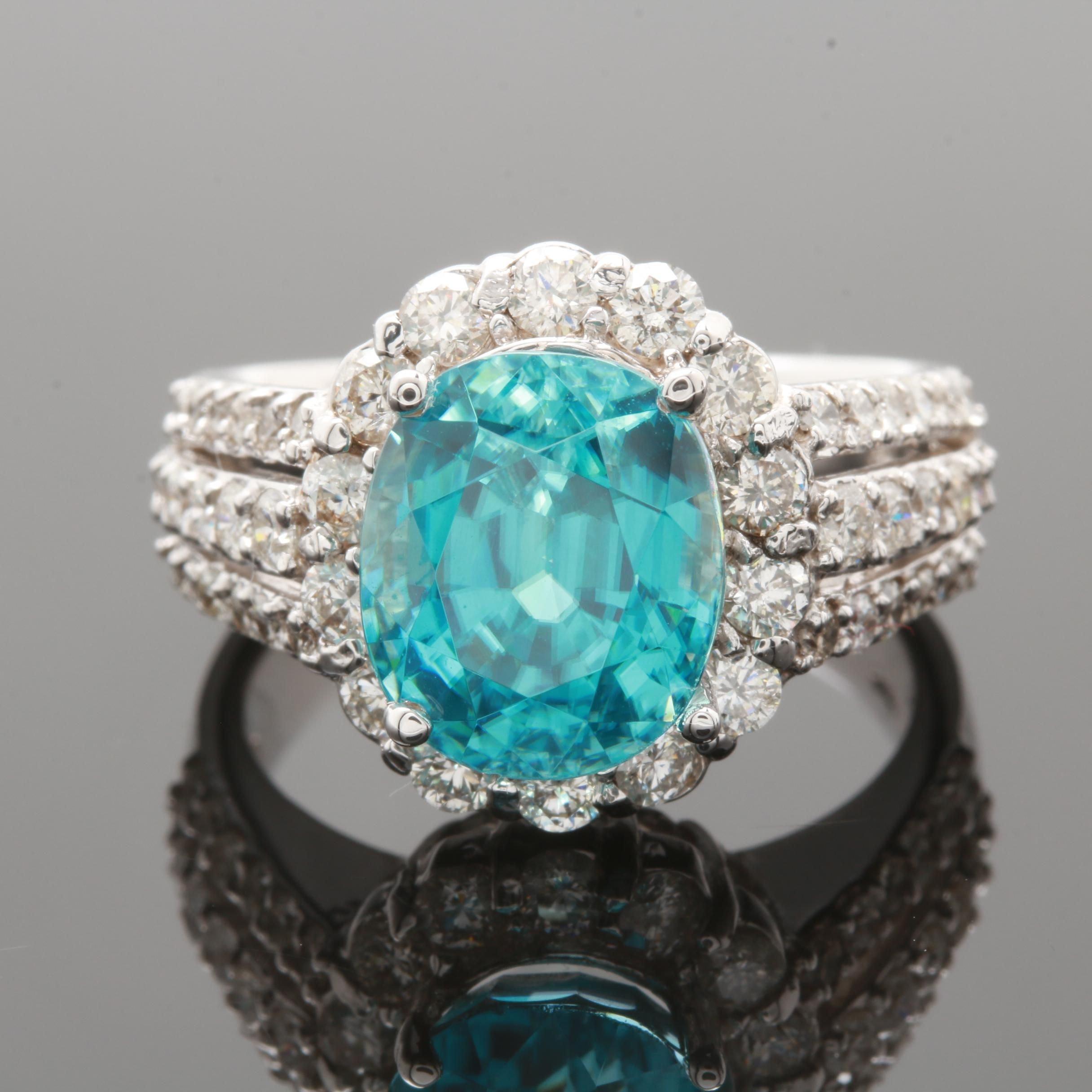 14K White Gold 7.01 CT Blue Zircon and 1.25 CTW Diamond Ring