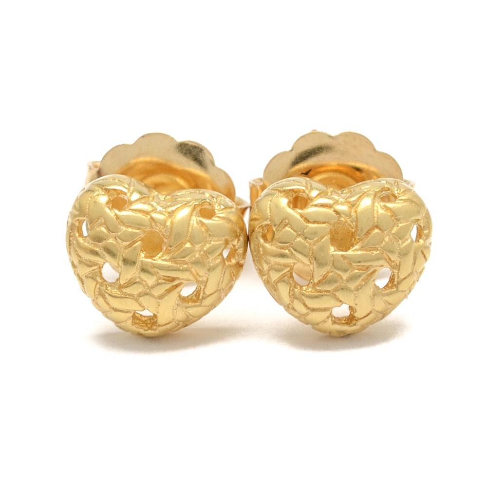 18K Yellow Gold Heat Earrings