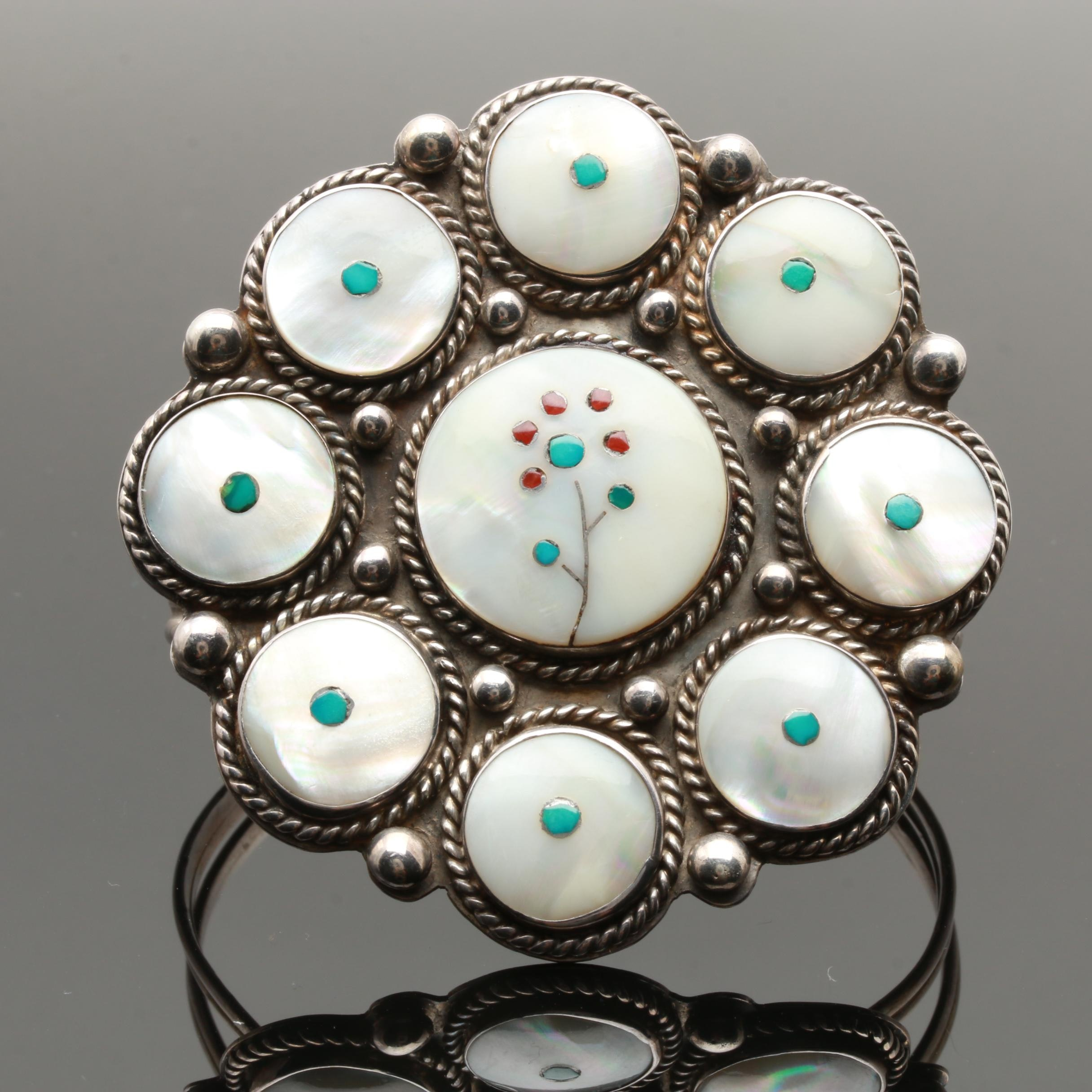 Billison Navajo Diné Sterling Silver Mother of Pearl and Turquoise Bracelet