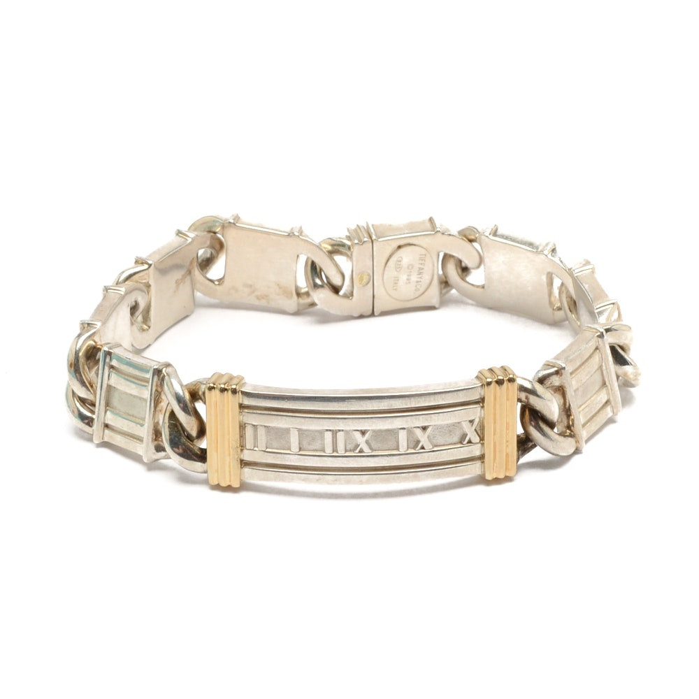 """Tiffany & Co. Sterling Silver and 18K Yellow Gold """"Atlas"""" Link Bracelet"""