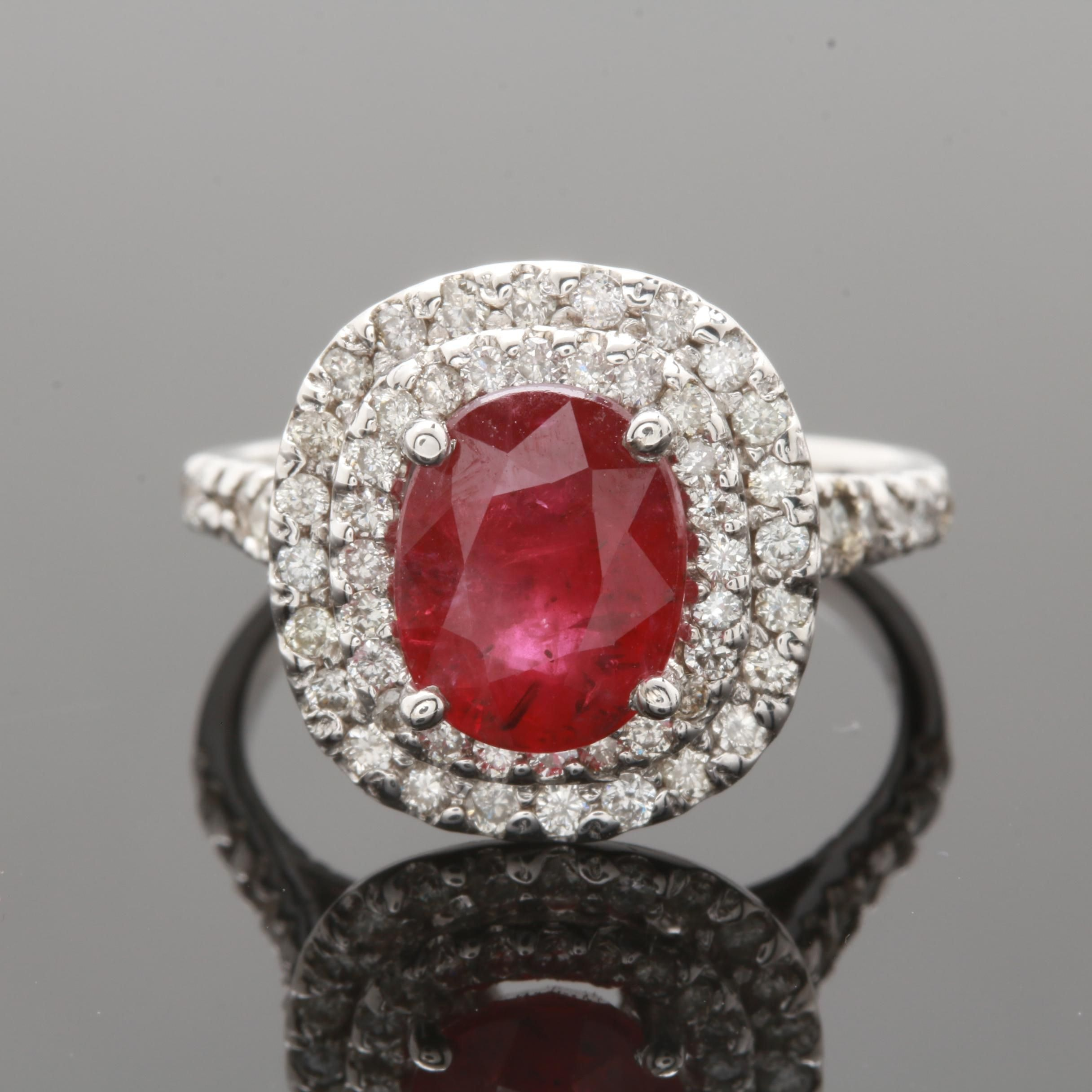 14K White Gold 2.40 CT Ruby and Diamond Ring