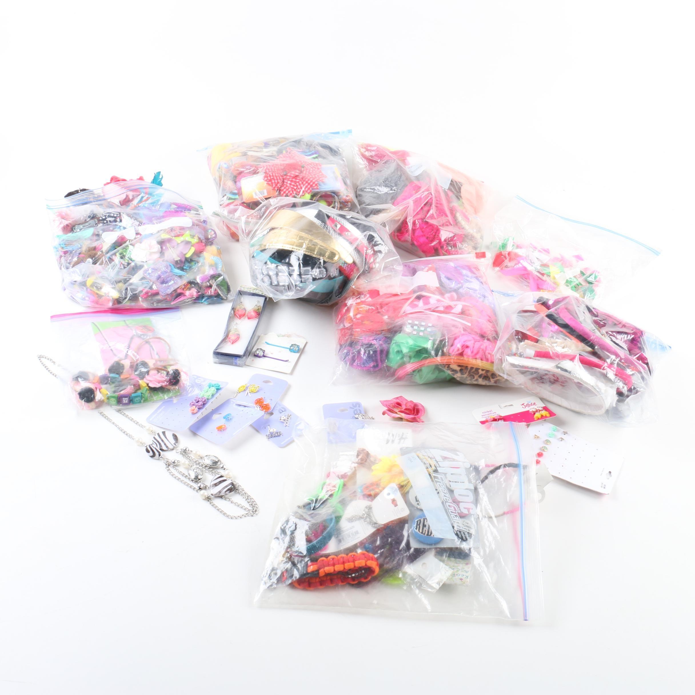 Assortment of Hair Accessories Including Handbags