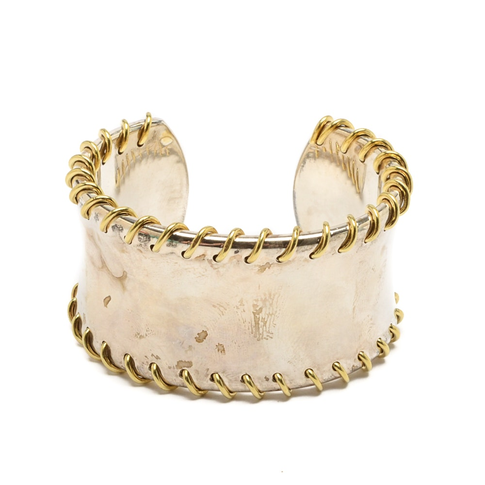 Tiffany & Co. Sterling Silver and 18K Yellow Gold Cuff Bracelet