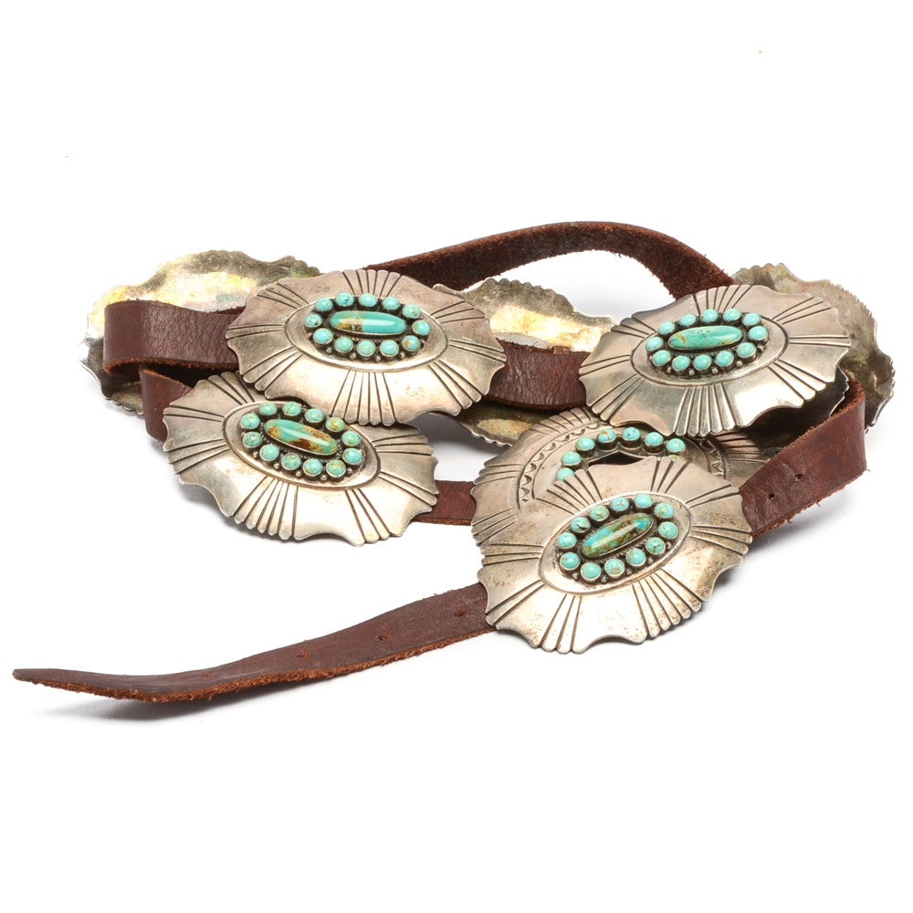 Kirk Smith Sterling Silver and Turquoise Buckle with Slides on Leather Belt