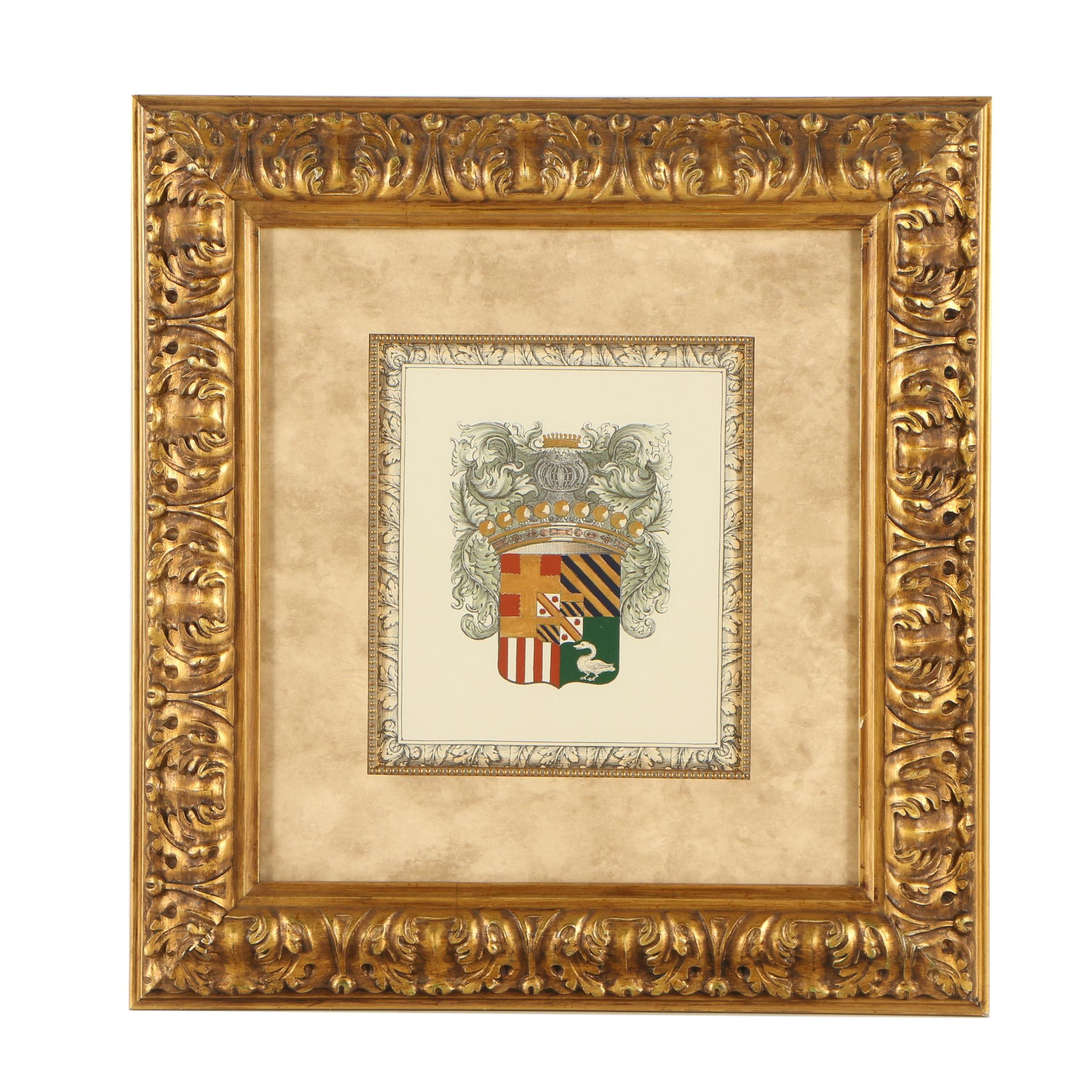 Hand-Painted Lithograph Coat of Arms