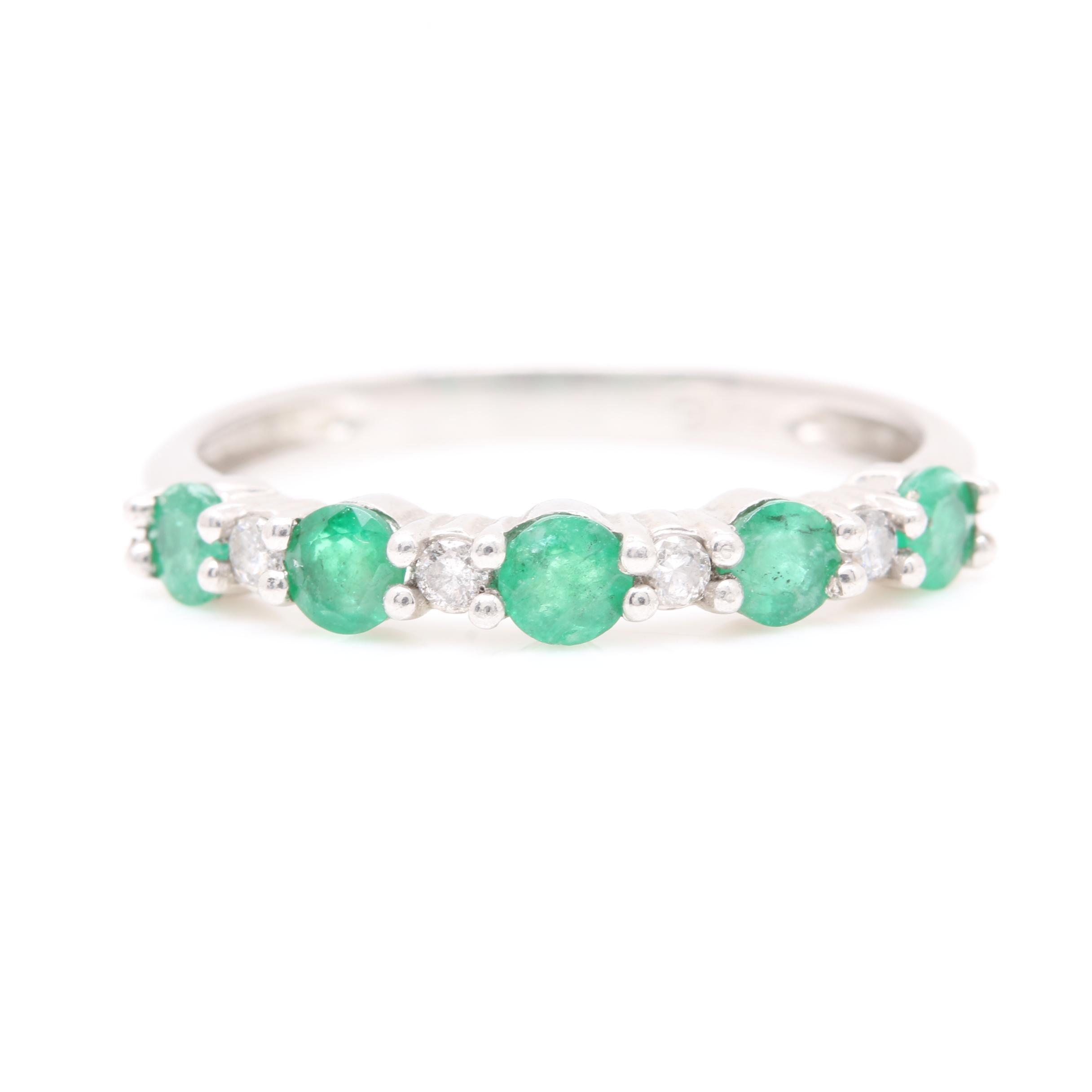 Alwand Vahan Platinum Emerald and Diamond Ring