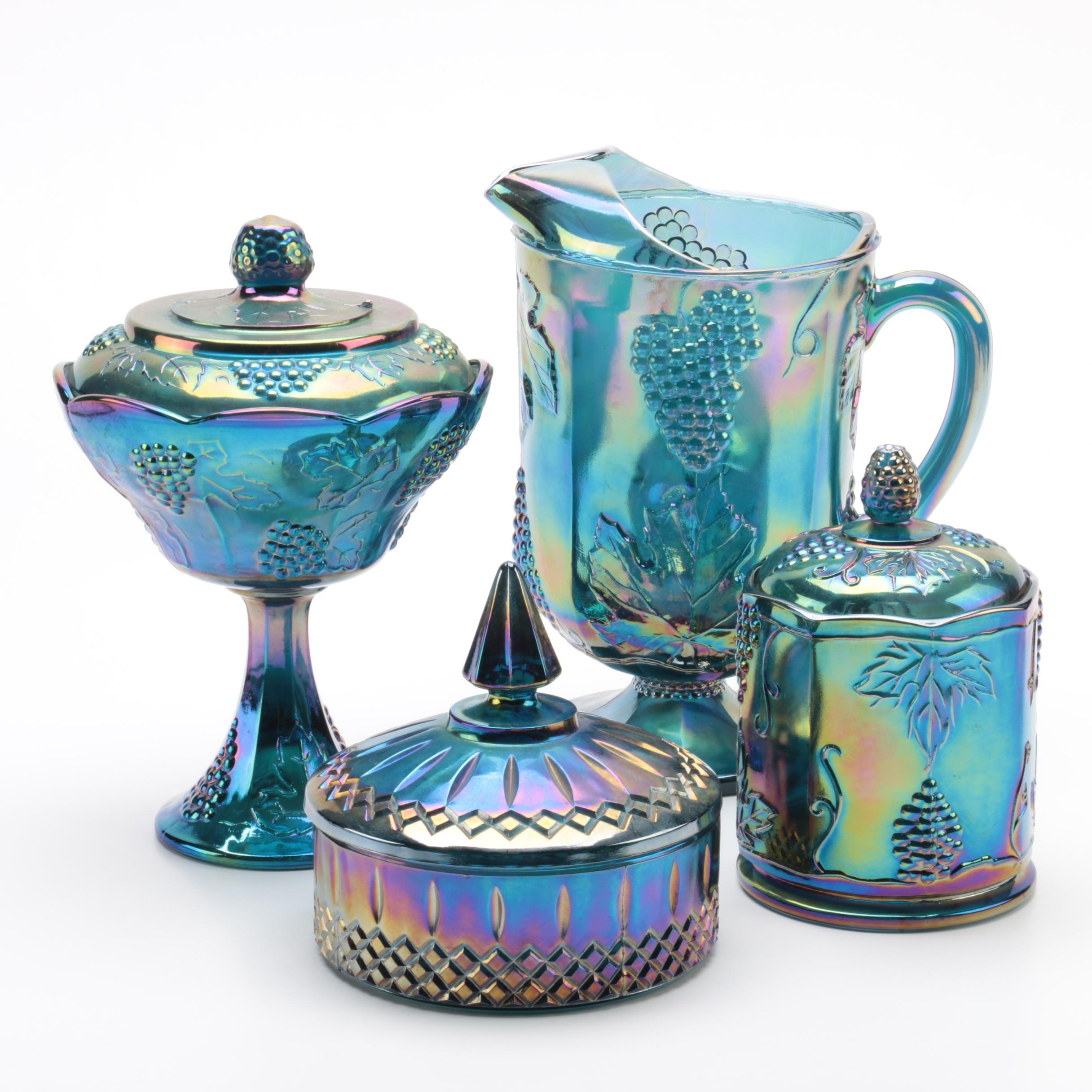 Four Vintage Blue and Green Carnival Glass Vessels