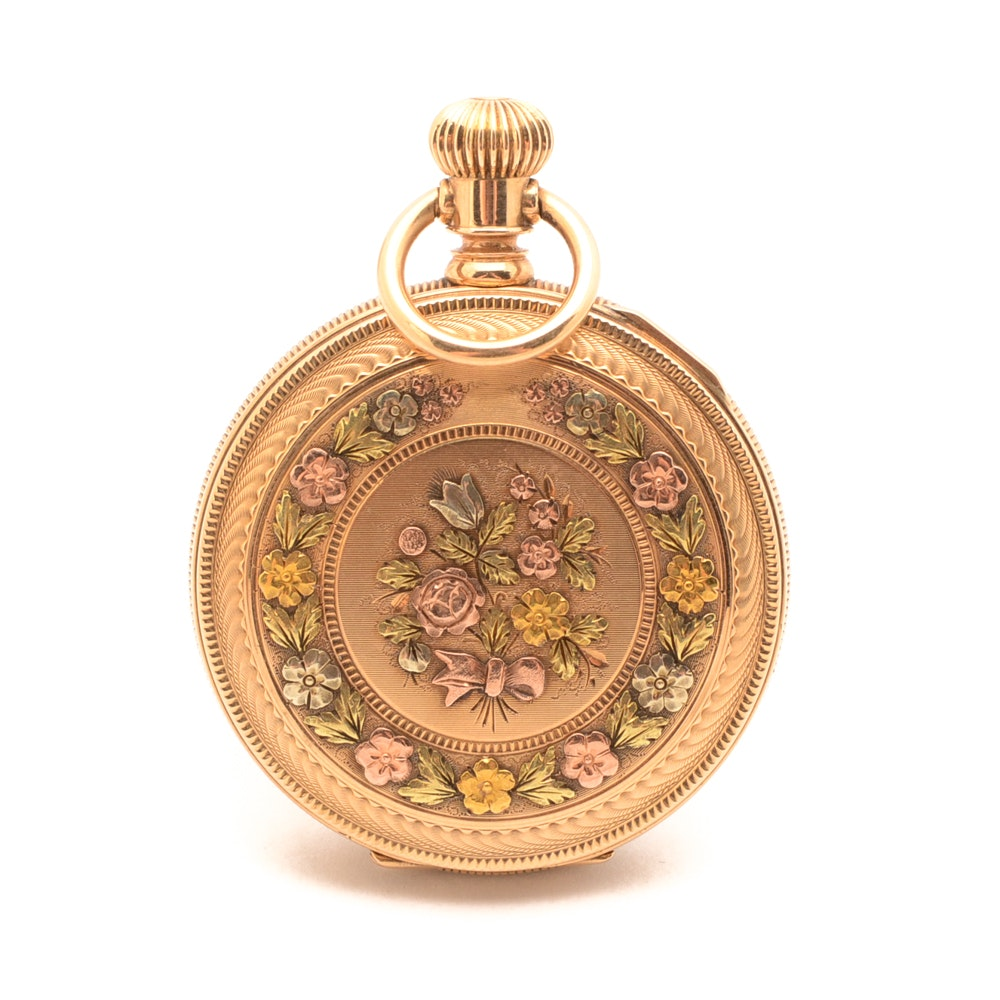 American Waltham Watch Co. 14K Multi-Color Gold Hunting Case Pocket Watch