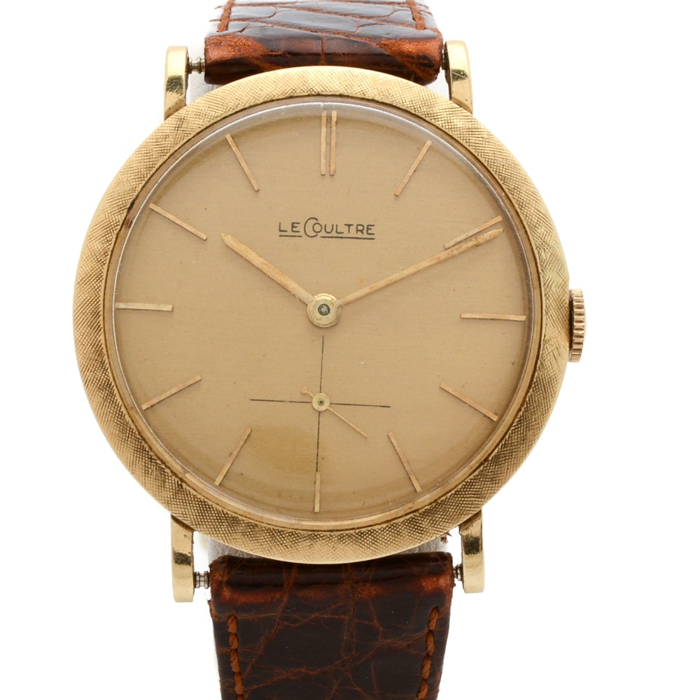 14K Yellow Gold LeCoultre Wristwatch with Leather Band