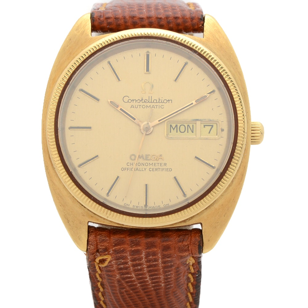 18K Yellow Gold Omega Constellation Automatic Wristwatch