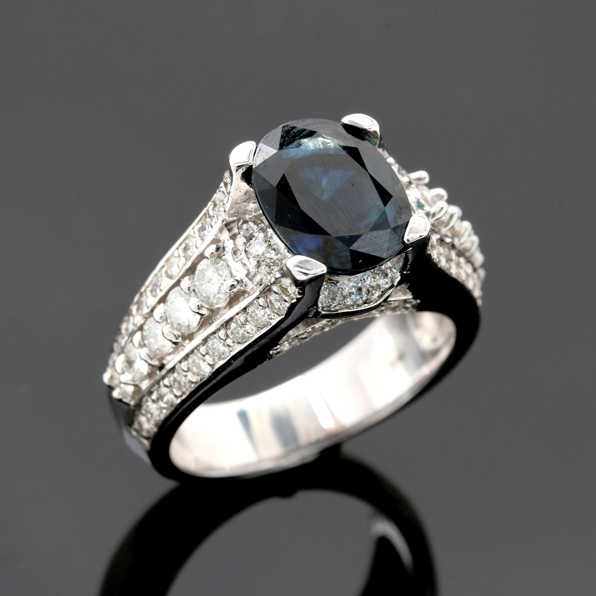 14K White Gold 3.01 CT Blue Sapphire and Diamond Ring