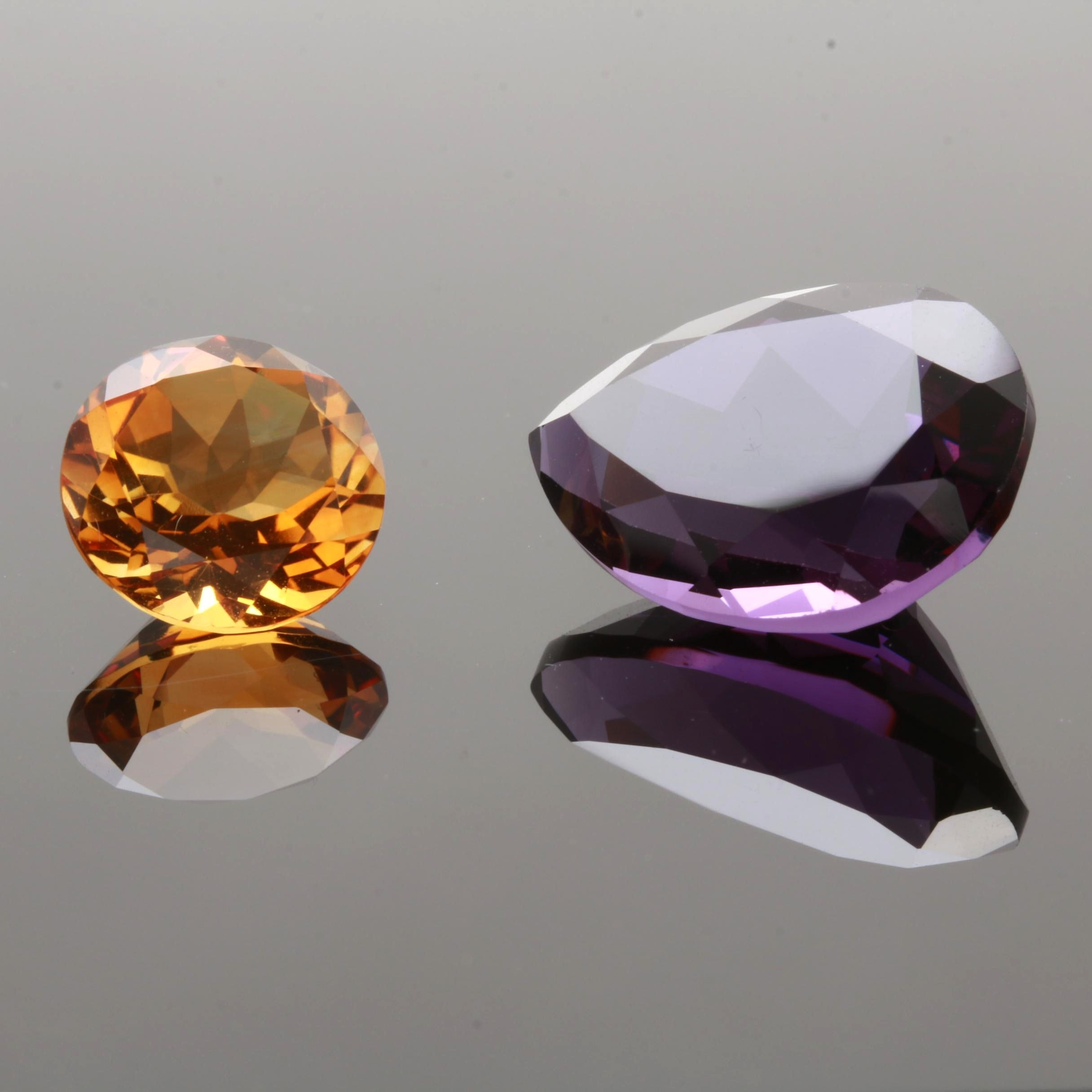 Loose 5.67 CT Citrine and Loose 15.59 CT Amethyst