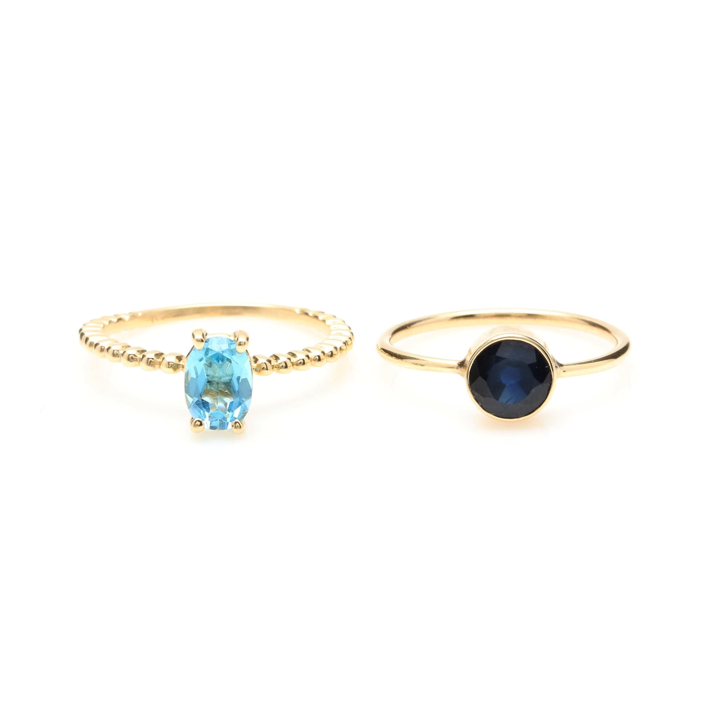 14K Yellow Gold Topaz and Blue Sapphire Rings