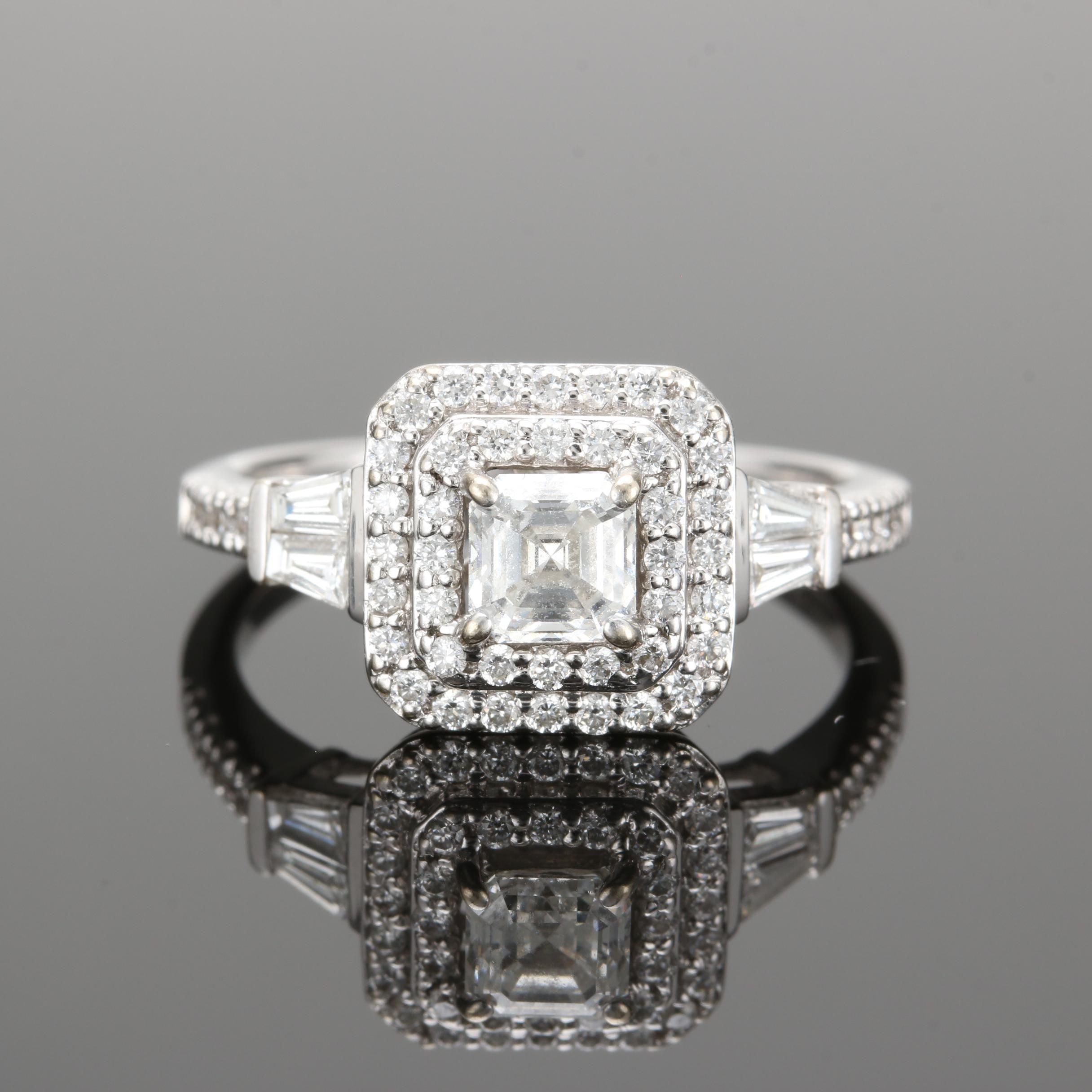 18K White Gold 1.00 CTW Diamond Ring
