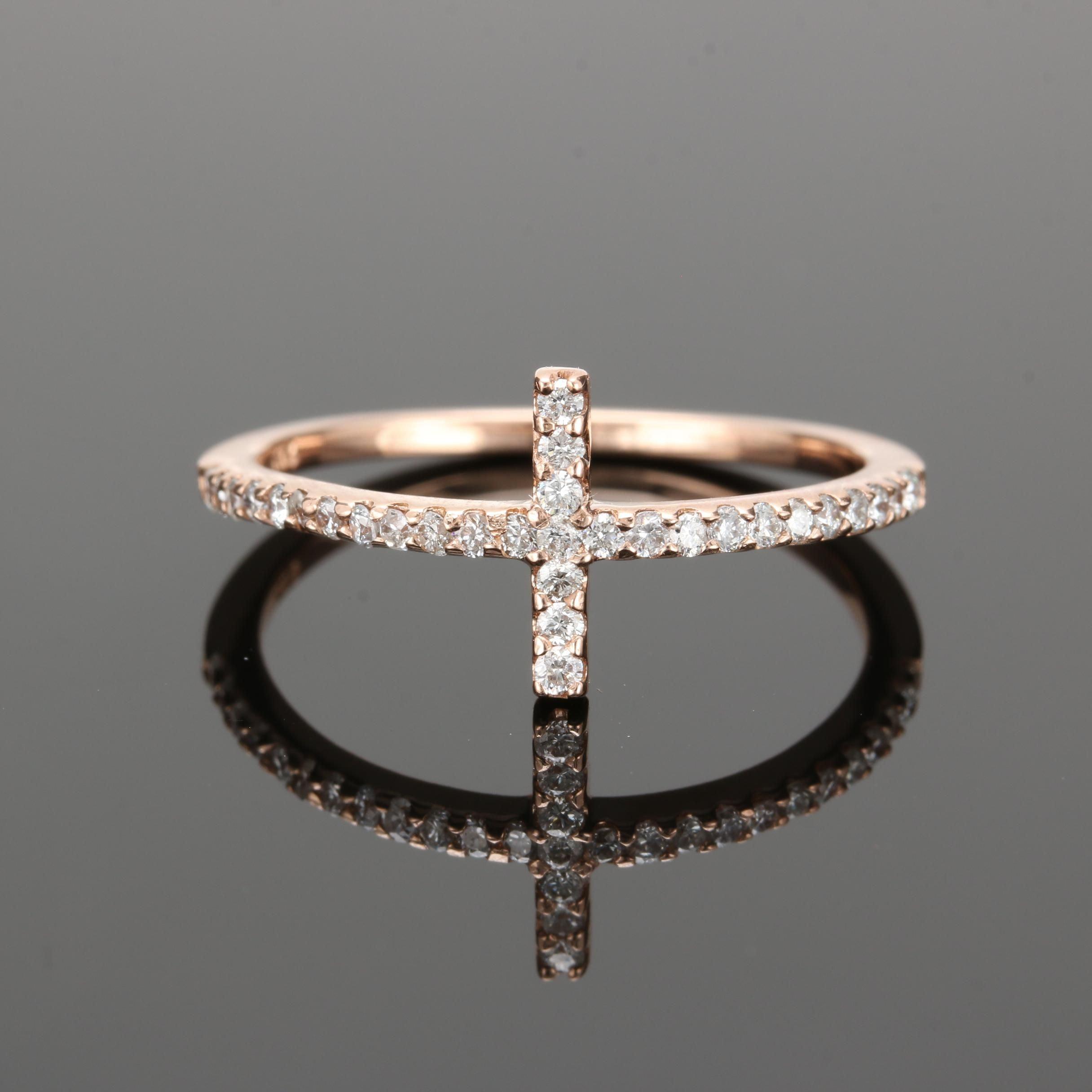 14K Yellow Gold Diamond Bar Ring