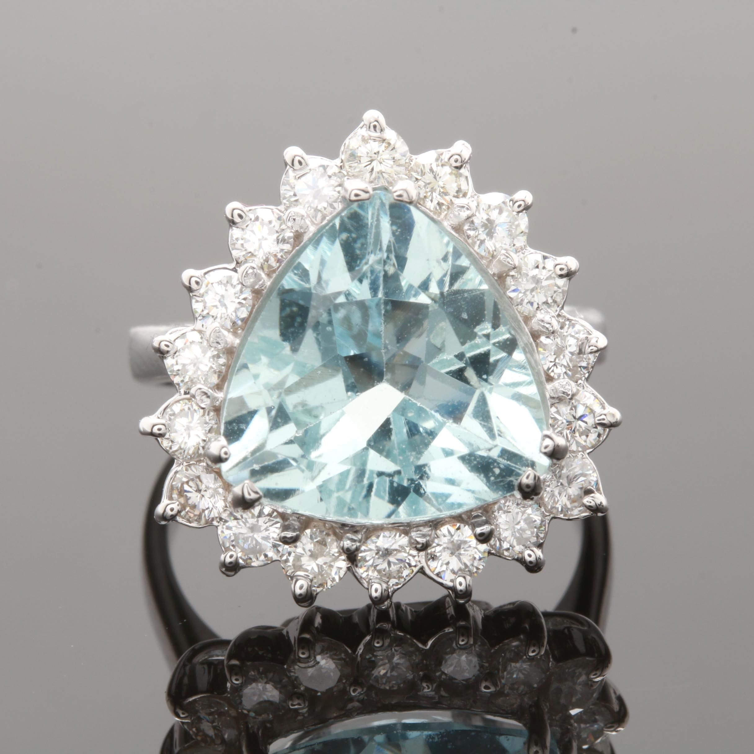 14K White Gold 3.41 CT and 0.85 CTW Diamond Ring