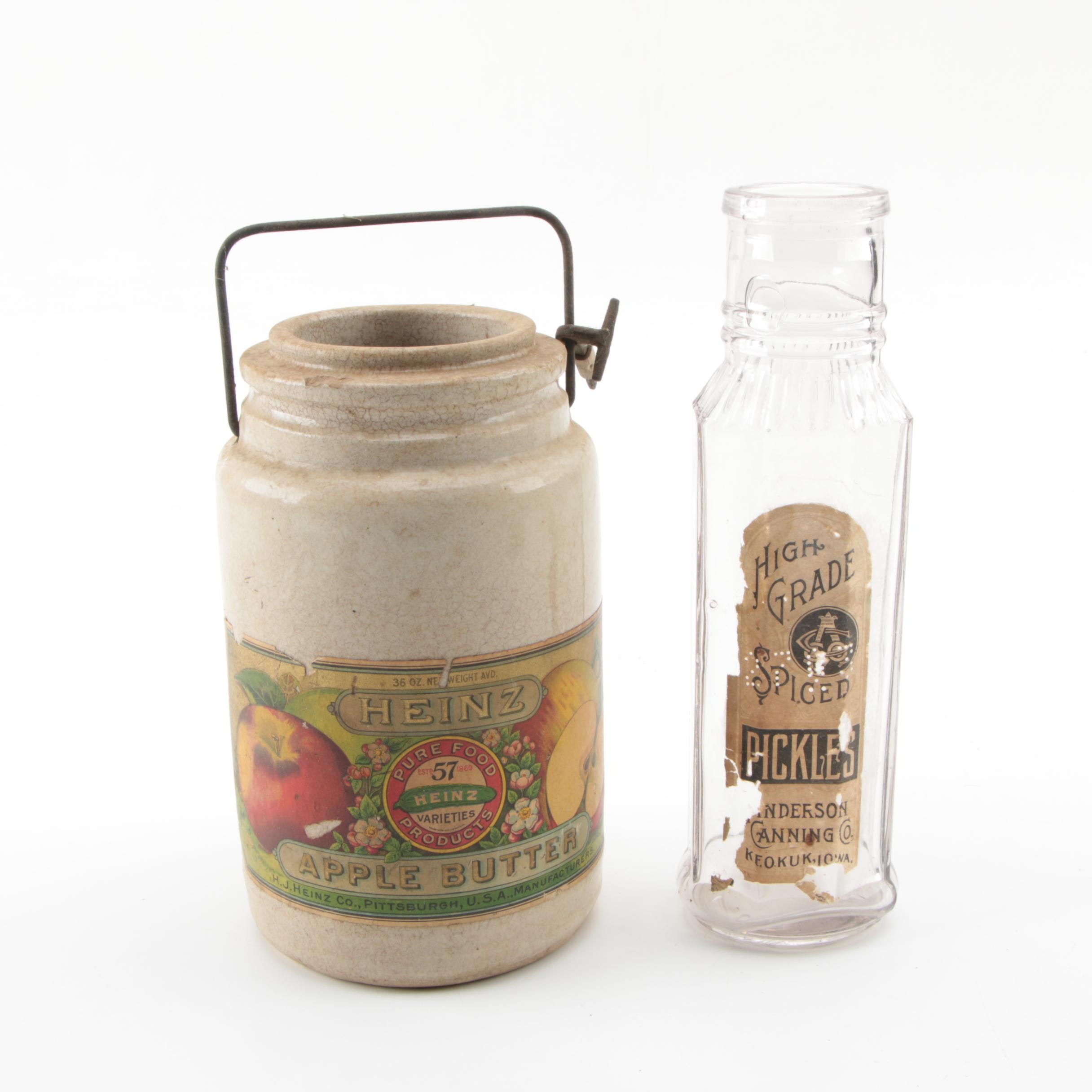 Heinz Stoneware Apple Butter Jar and Anderson Canning Co. Bottle