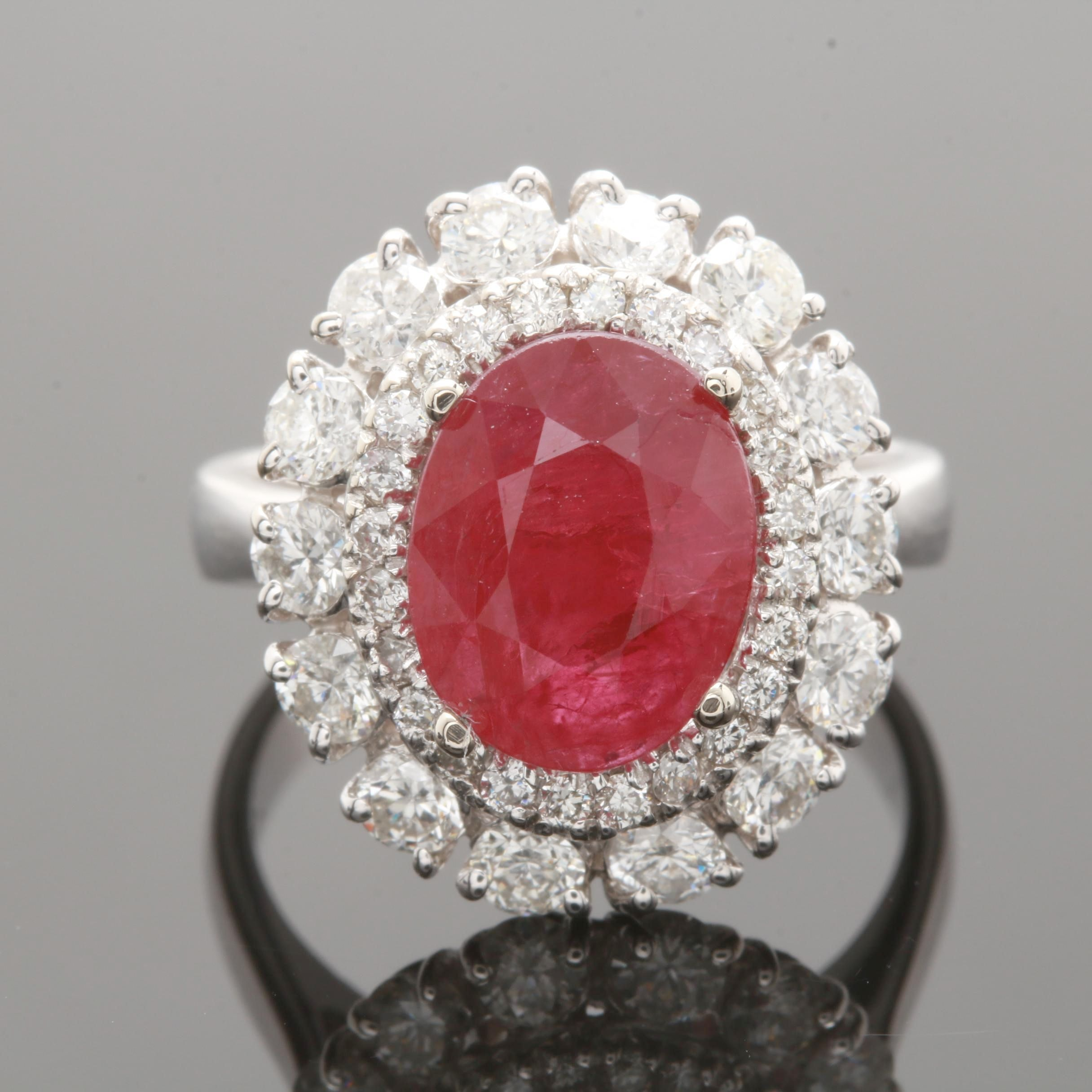 14K White Gold 2.00 CT Ruby and 1.24 CTW Diamond Ring