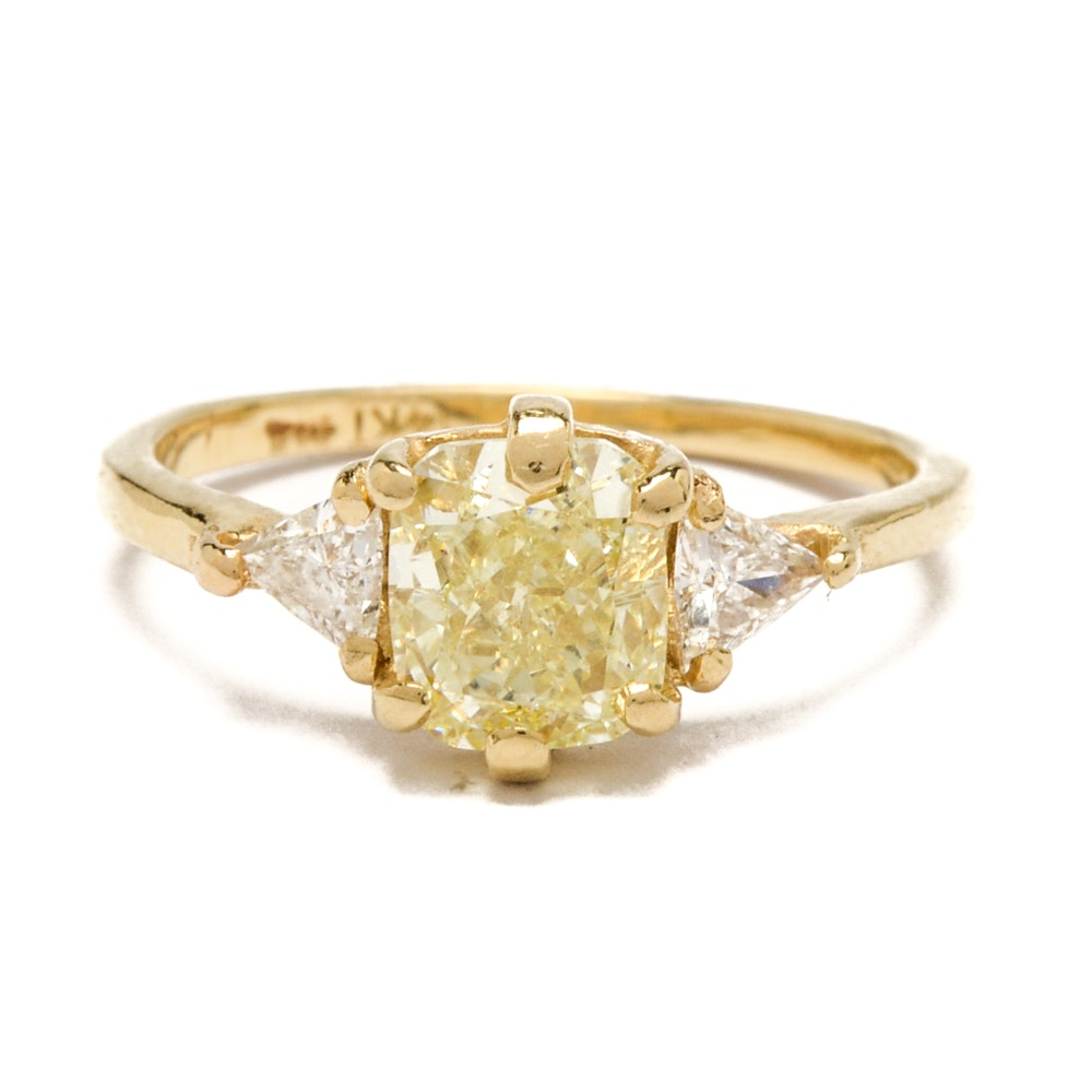 14K Yellow Gold 1.48 CTW Diamond Ring with GIA Certificate