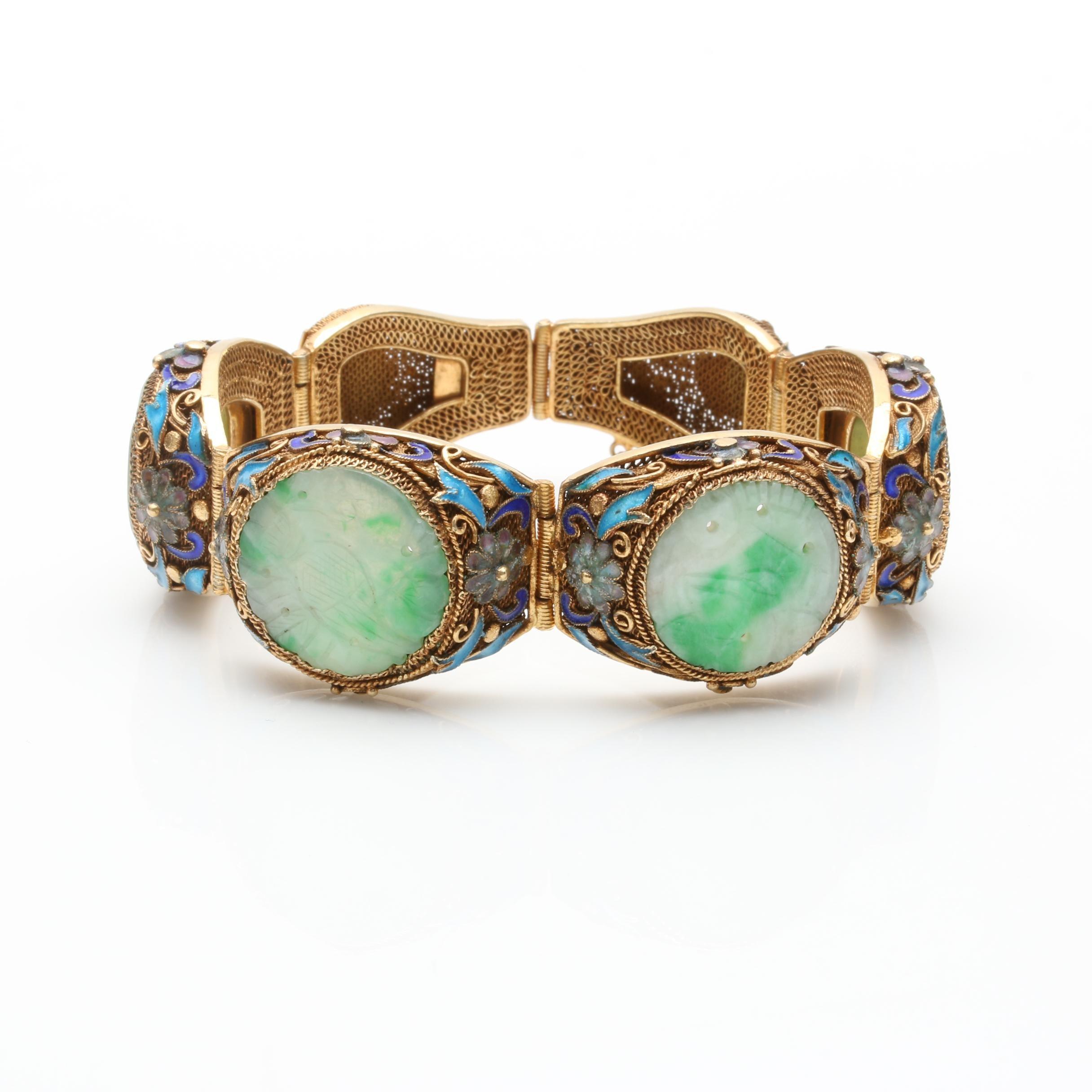 Gold Wash on Sterling Silver Jadeite and Enamel Bracelet