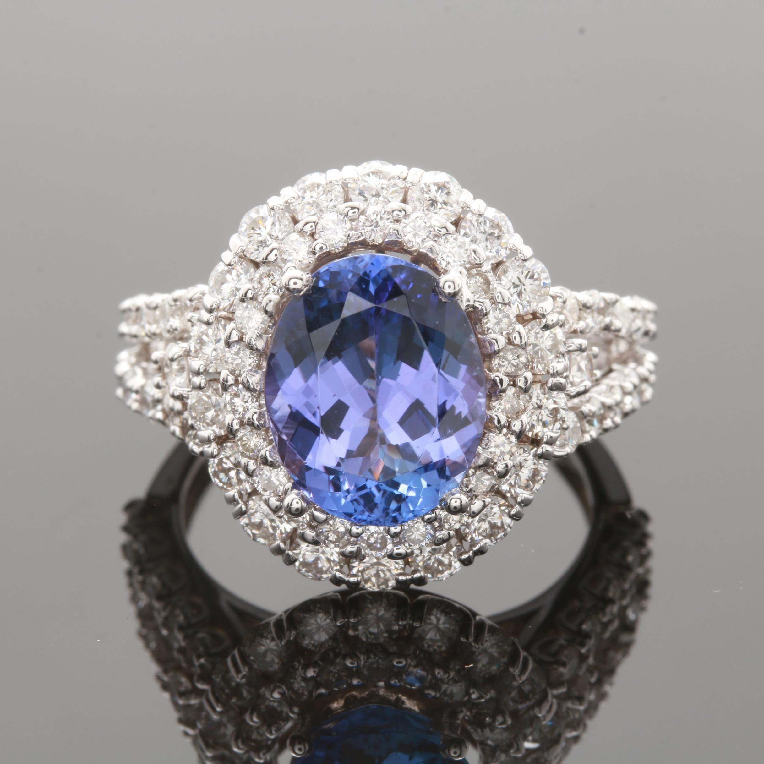 14K White Gold 3.27 CT Tanzanite and 1.70 CTW Diamond Ring