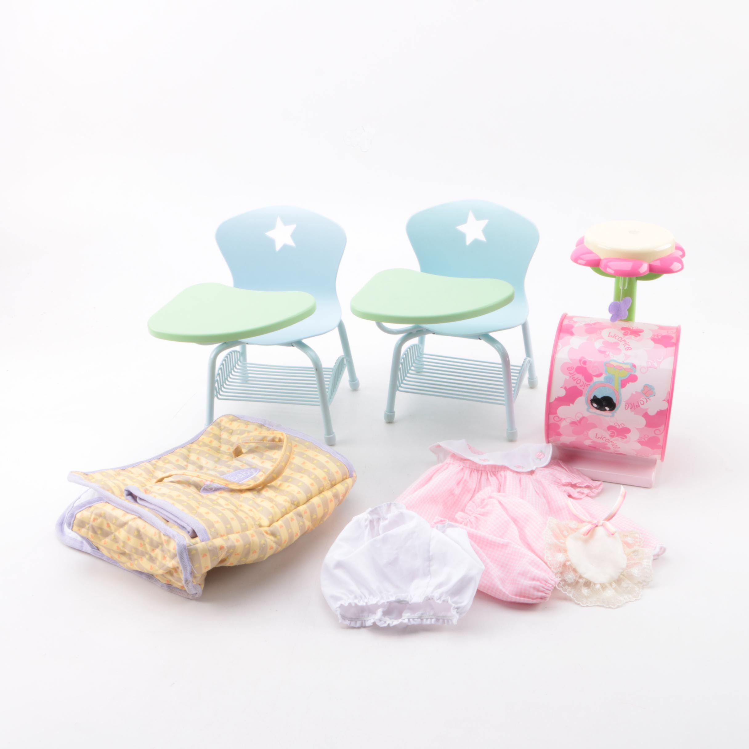 "American Girl ""Bitty Baby"" Dress with Doll Furniture and Accessories"